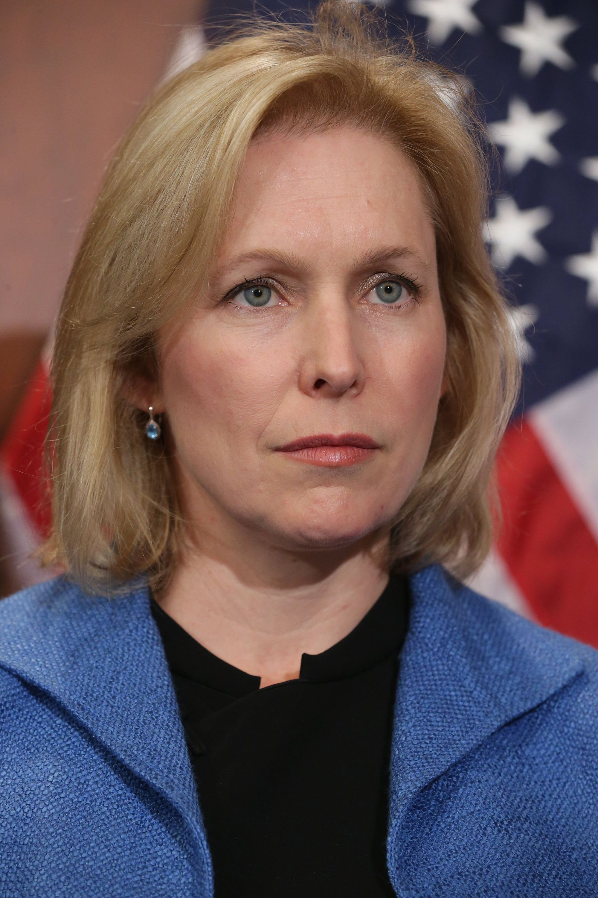 Sen. Kristen Gillibrand (D-NY) participates in a news conference about new legislation aimed at curbing sexual assults on college and university campuses at the U.S. Capitol.