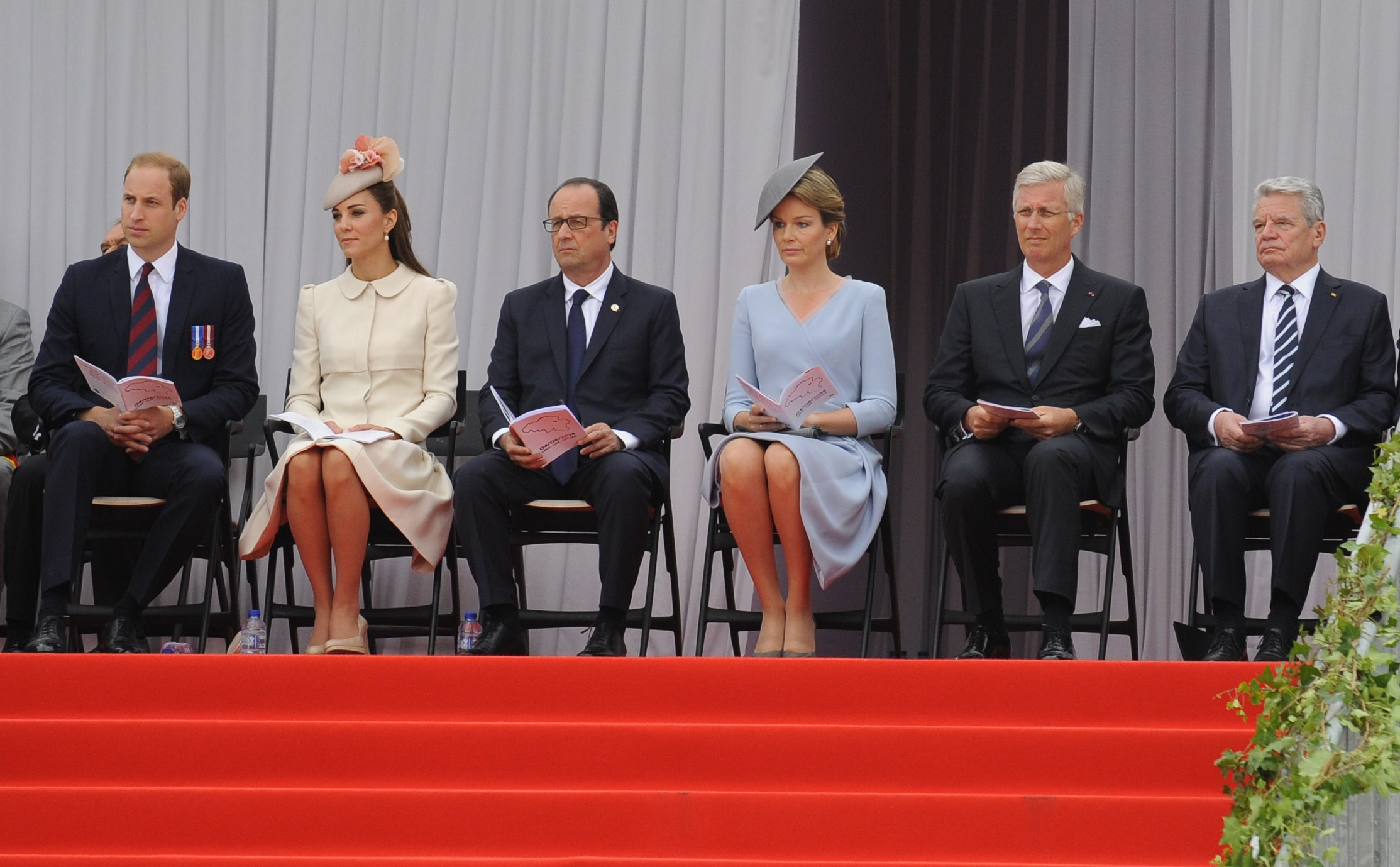 Britain's Prince William, his wife Catherine, French President Francois Hollande, Queen Mathilde of Belgium, her husband King Philippe and German President Joachim Gauck attend on August 4, 2014 in Liege, Belgium, commemorations marking 100 years since the invasion of Belgium by Germany at the start of World War I.