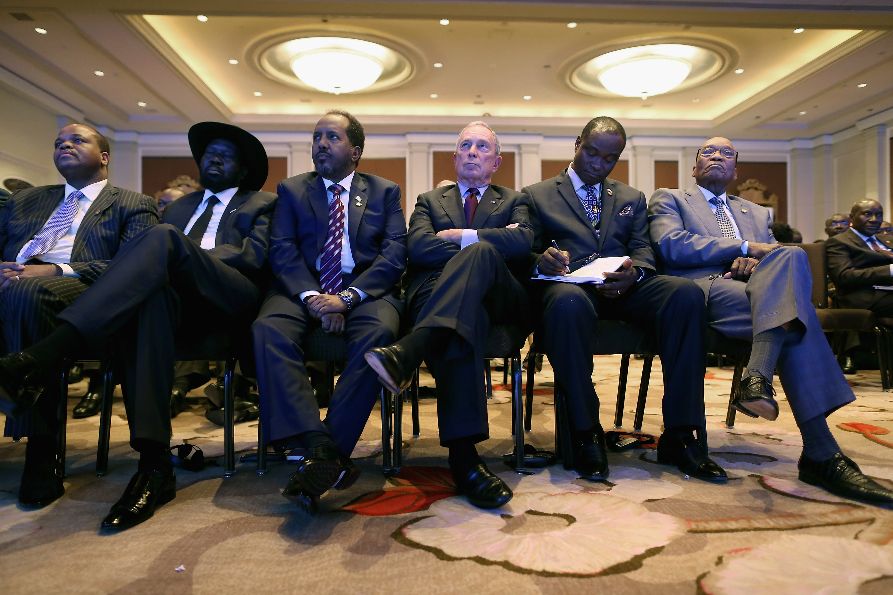 Swaziland King Mswati III, South Sudan President Salva Kiir Mayardit, Djbouti President Ismail Omar Guelleh, Former New York City Mayor Michael Bloomberg, South Africa President Jacob Zuma, left to right, and other African leaders listen to U.S. President Barack Obama deliver closing remarks during the U.S.-Africa Business Forum at the Mandarin Oriental Hotel August 5, 2014 in Washington, DC.