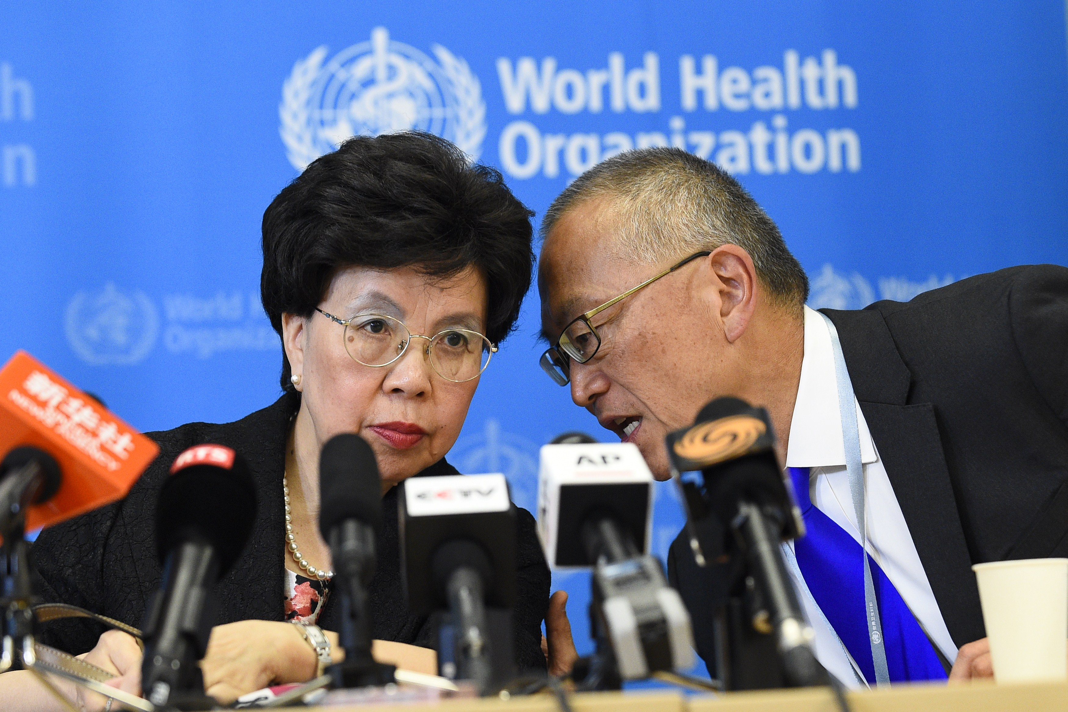 World Health Organization Director-General Dr. Margaret Chan with assistant director-general for health security Keiji Fukuda on Aug. 8, 2014 in Geneva.