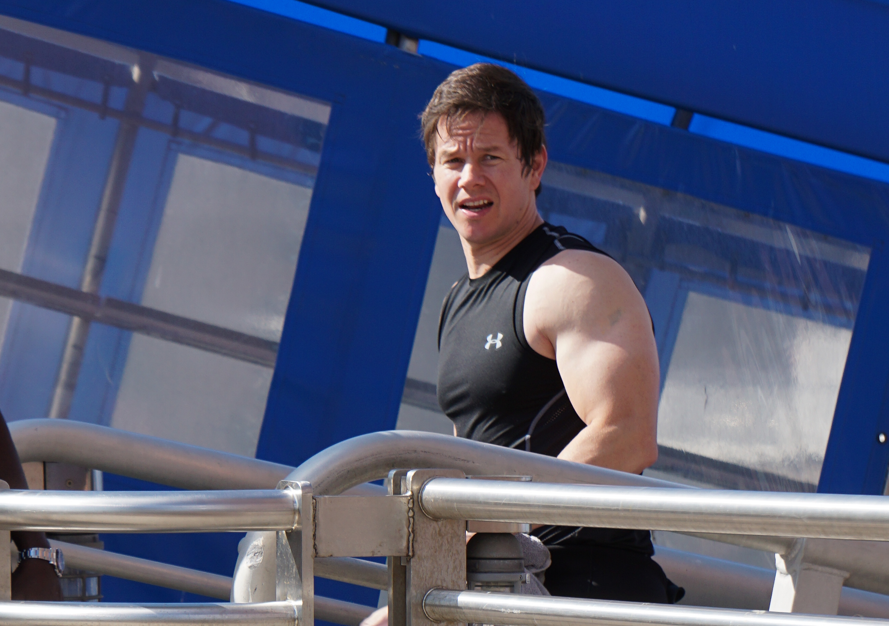 Mark Wahlberg is seen on the set of 'Ted 2' on August 08, 2014 in Boston, Massachusetts.