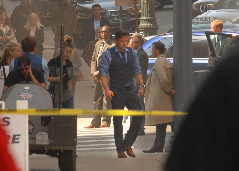 Ben Affleck walks on the set of Batman v Superman: Dawn Of Justice on August 9, 2014 in Detroit, Michigan.
