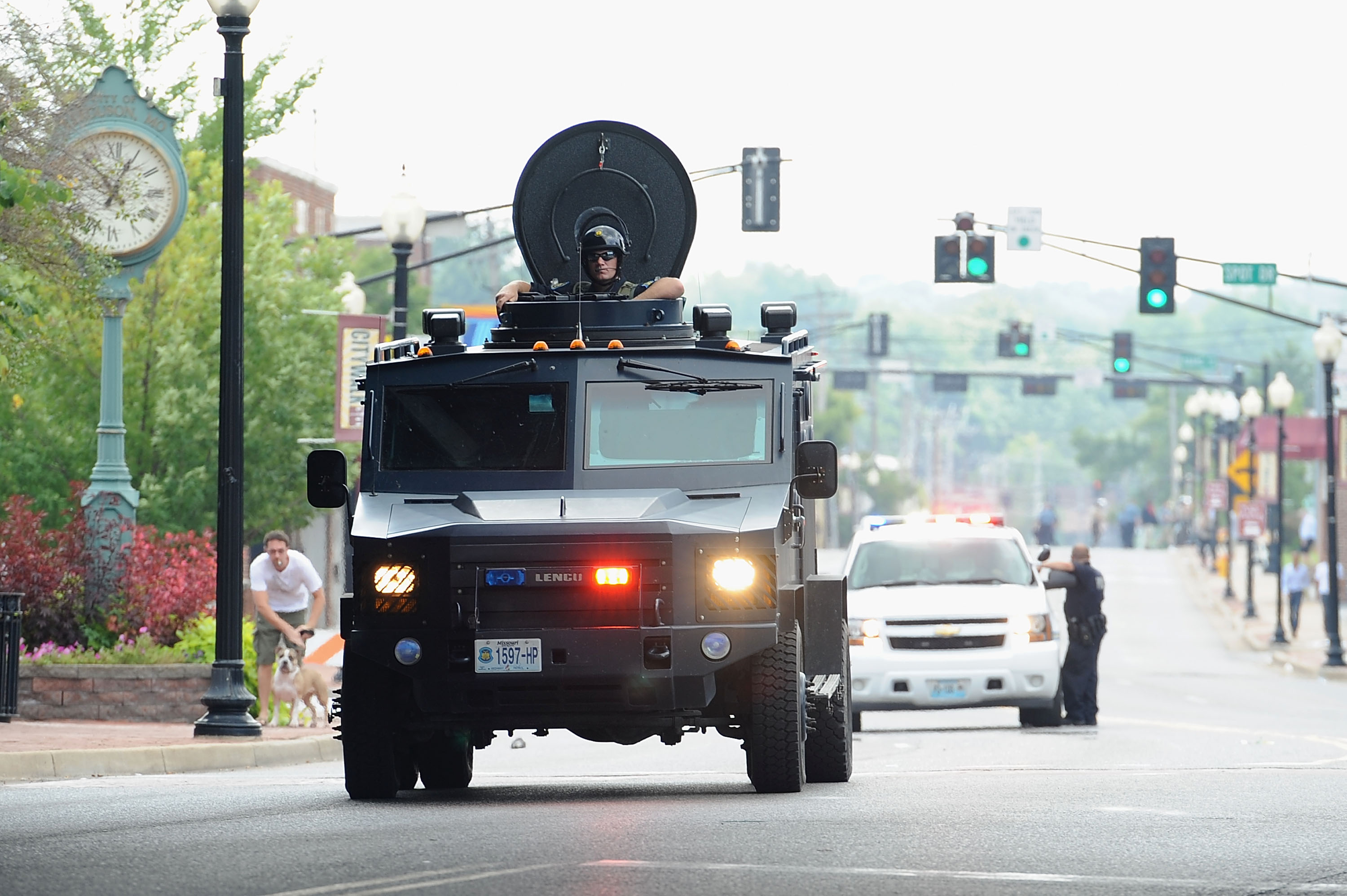 A Missouri State Highway Patrol tactical vehicle patrolling Ferguson.