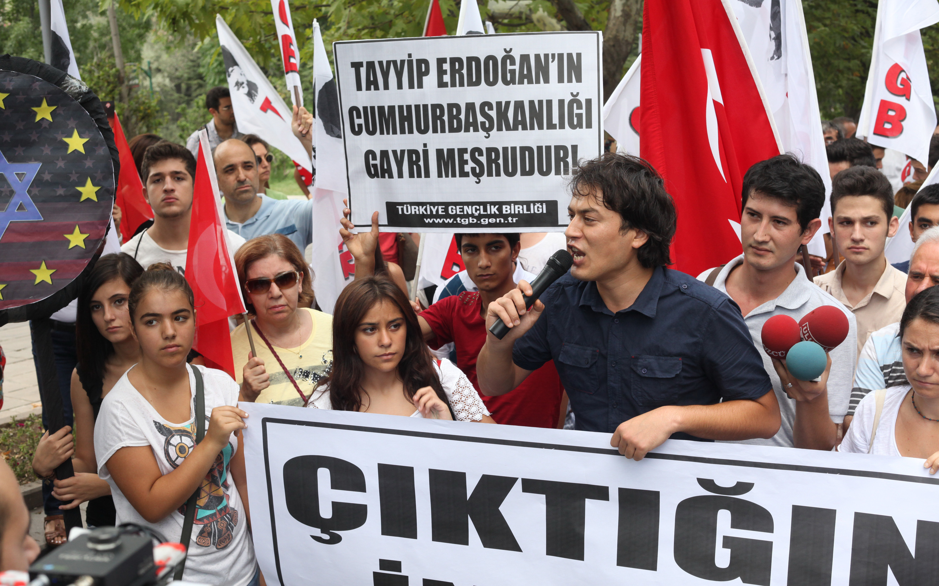 Turkish Youth Union (TGB) protested against Erdogan on August 11, 2014 in Ankara after Turkey's Prime Minister Recep Tayyip Erdogan won the presidential election.