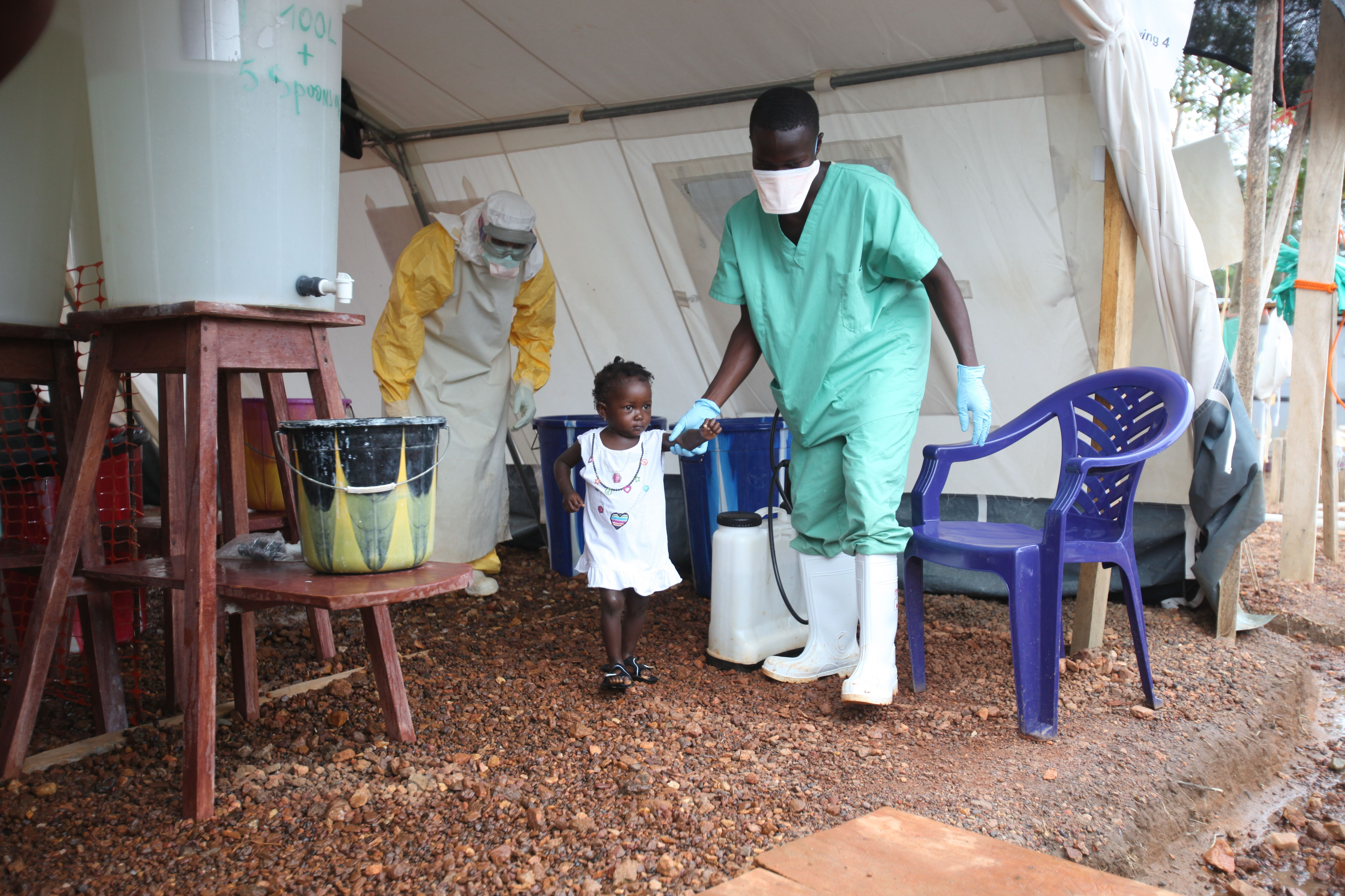 Isata, a 22-month-old, is the youngest patient to be discharged from the Ebola treatment centre in Kailahun district, Sierra Leone on Aug. 6, 2014.