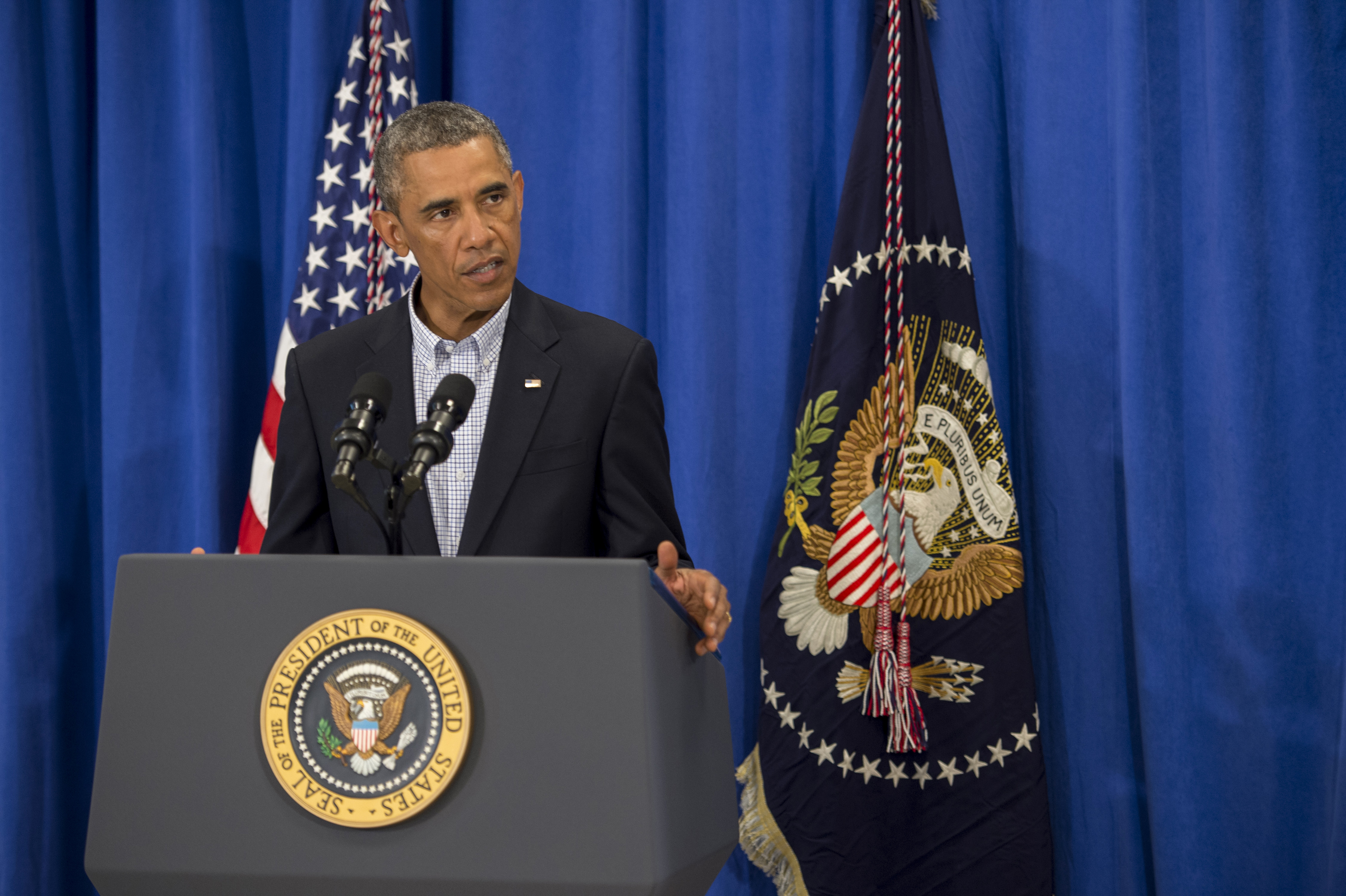President Barack Obama speaks about the unrest in Ferguson, Mo. while on vacation in Edgartown, Mass. on Aug. 14, 2014.