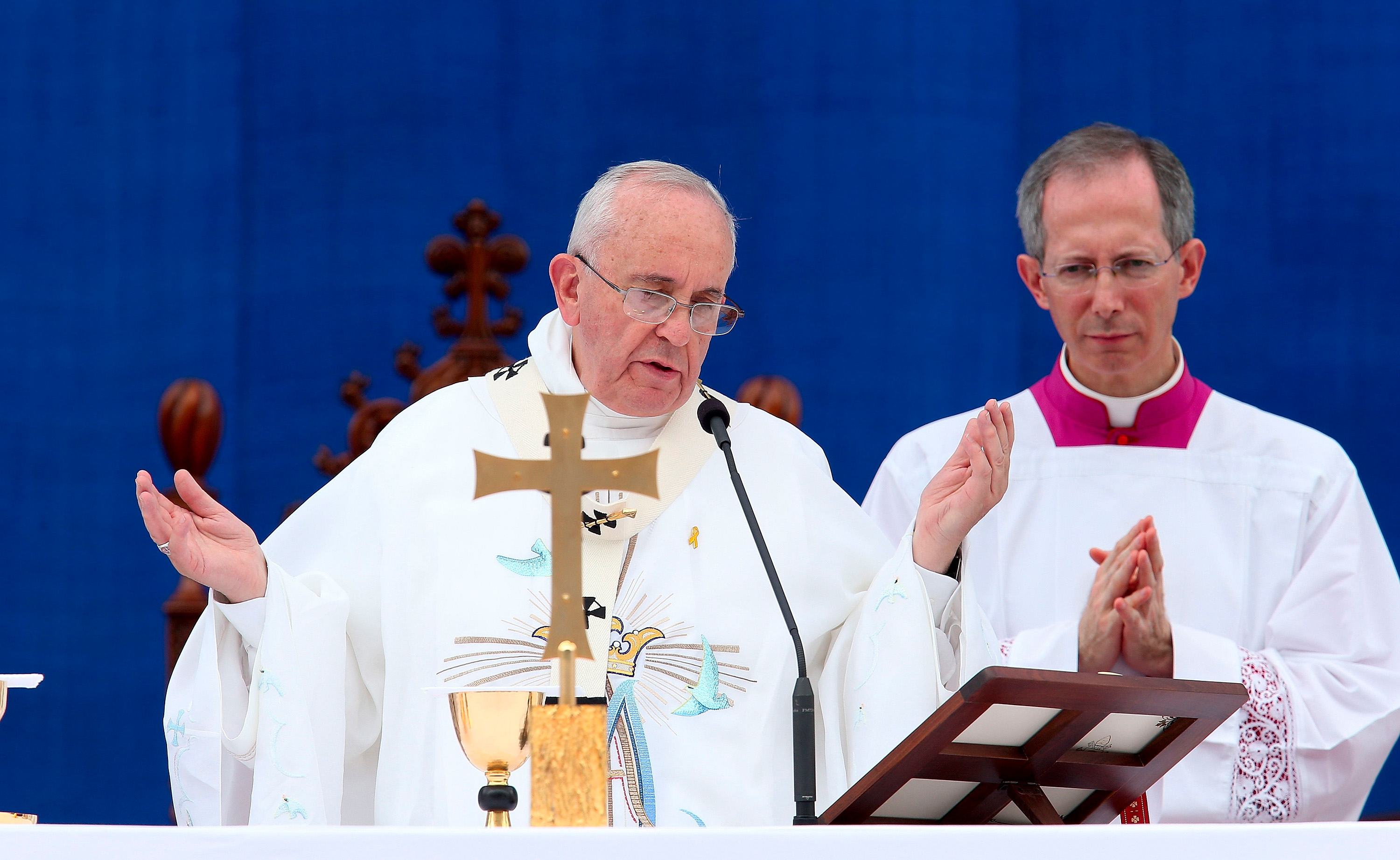 Pope Francis speaks in Daejeon, South Korea, on Friday, August 15. He is visiting South Korea from August 14 to August 18.
