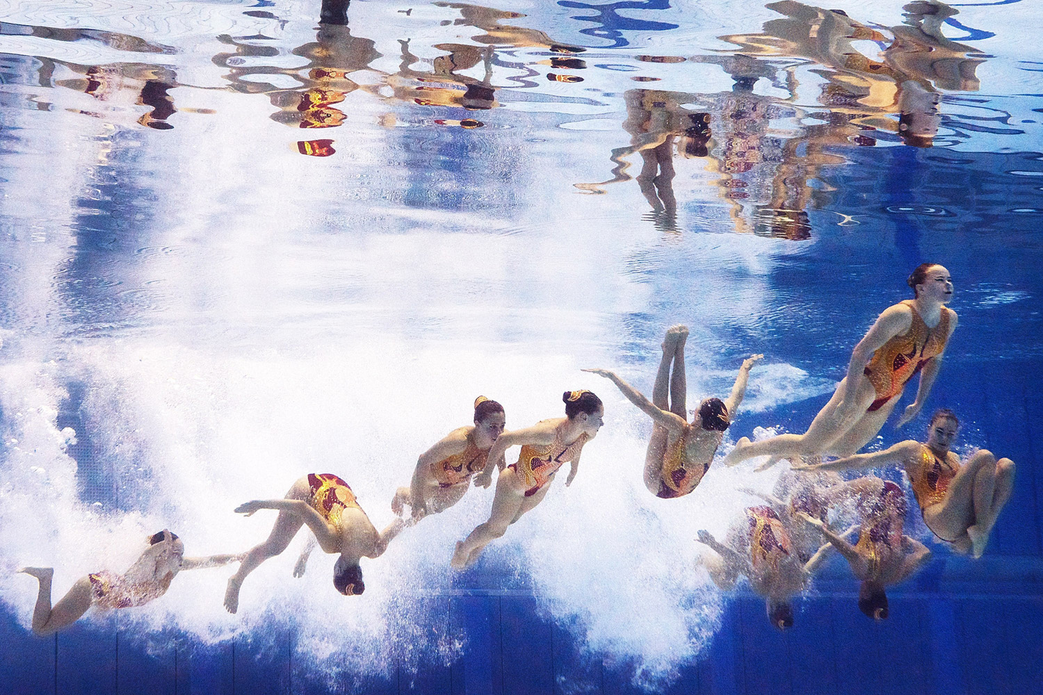Aug. 15, 2014. Switzerland's synchronized swimming team performs their Women's Free Combination Synchronised Swimming Routine at Europa-Sportpark in Berlin, Germany.