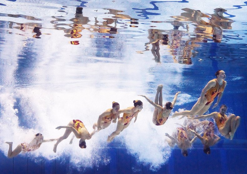 Switzerland perform their Women's Free Combination Synchronised Swimming Routine at Europa-Sportpark on Aug. 15, 2014 in Berlin.