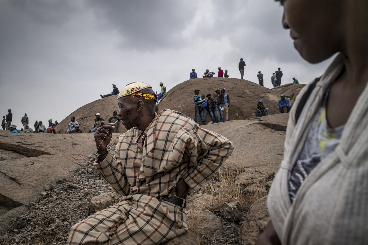 Aug. 16, 2014. People gather in front of the hill where two years ago miners where gunned down by the South African police during a violent wave of strikes.