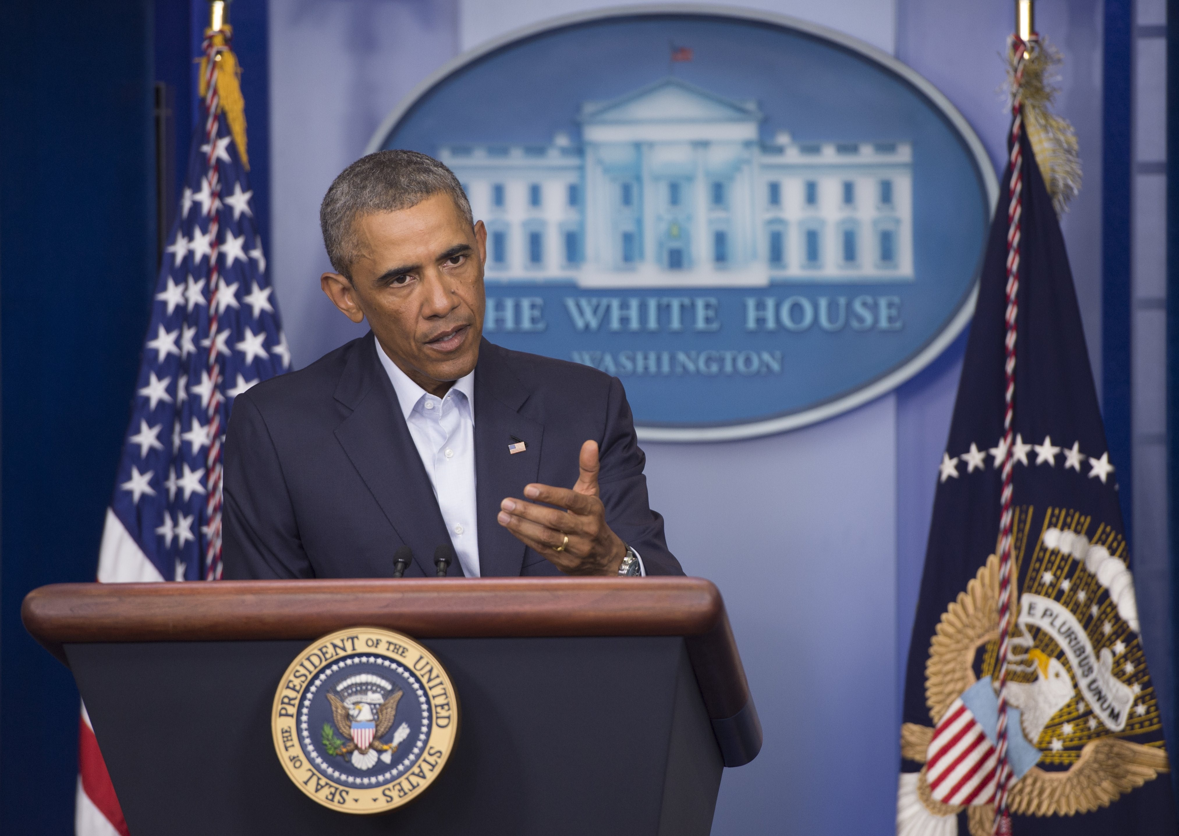 US President Barack Obama speaks about the US involvement in Iraq, as well as the situation in Ferguson, Missouri, in the Brady Press Briefing Room of the White House in Washington, DC, August 18, 2014.