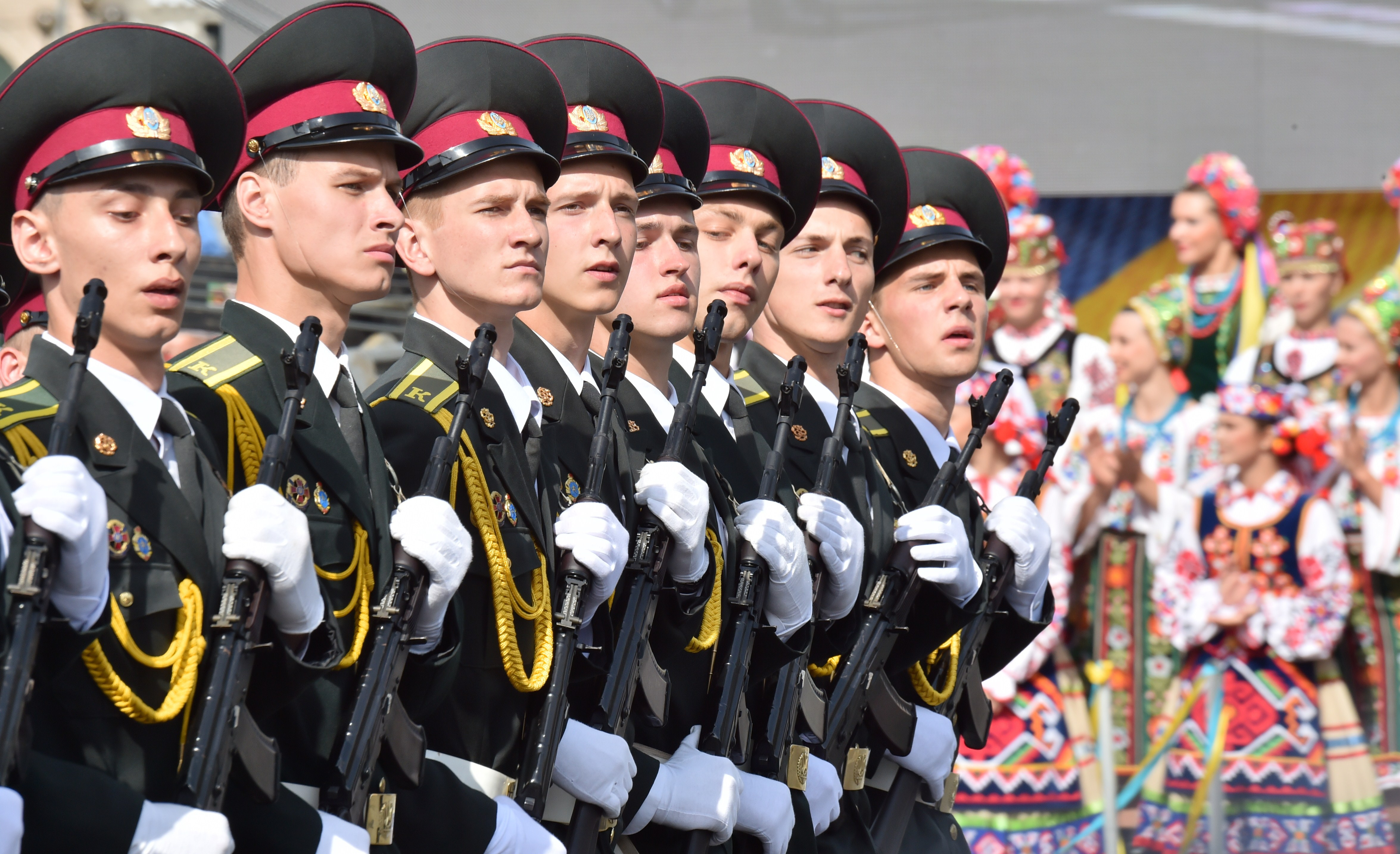 Ukrainian forces parade during a military ceremony marking the 23rd anniversary of Ukraine's independence in Kiev on Aug. 24, 2014.