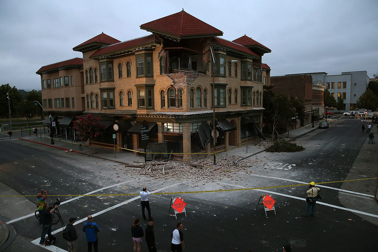 A building is seen destroyed following a reported 6.0 earthquake on Aug. 24, 2014 in Napa, Calif.