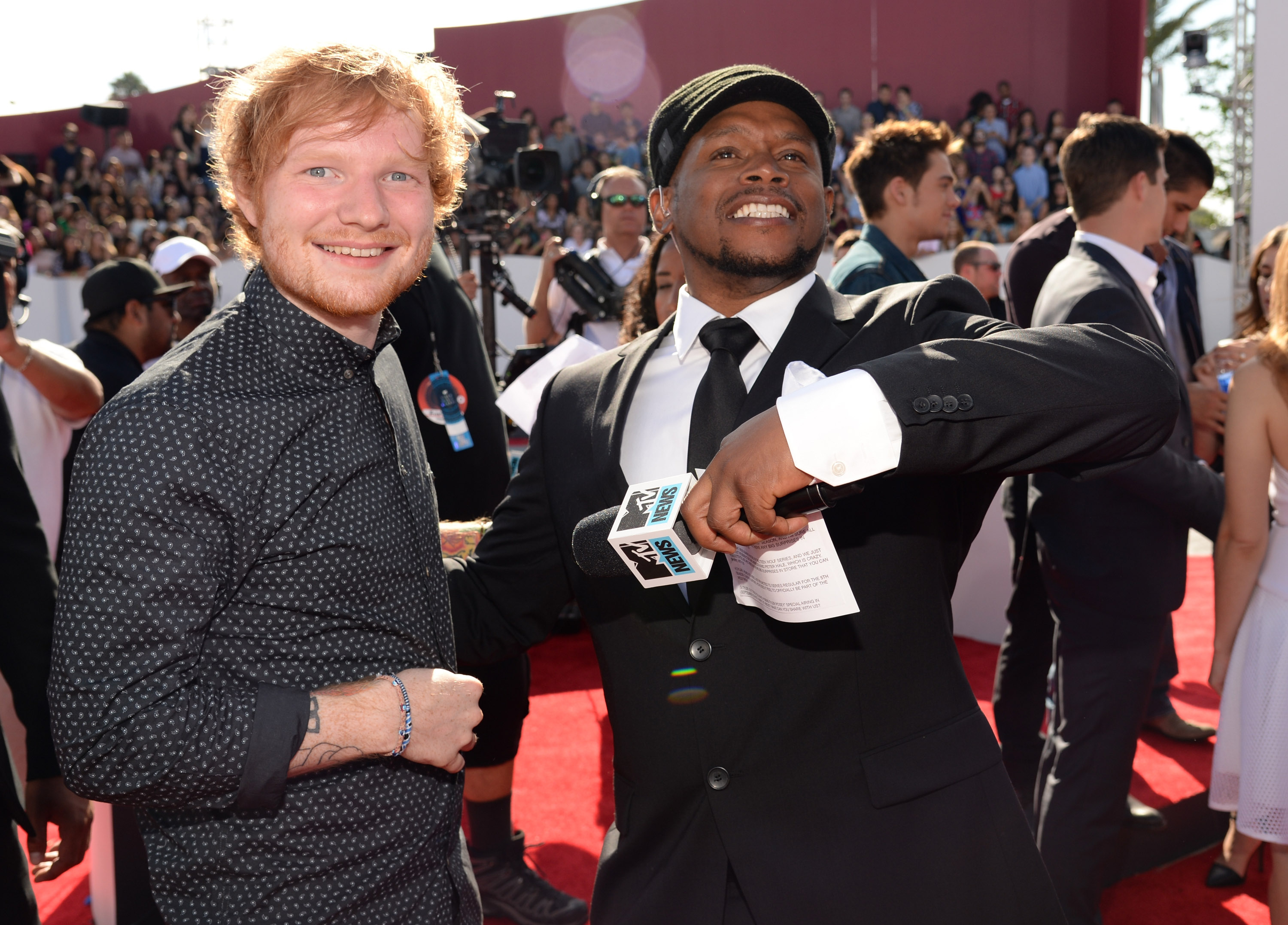 Ed Sheeran and Sway attend the 2014 MTV Video Music Awards at The Forum on August 24, 2014 in Inglewood, California.