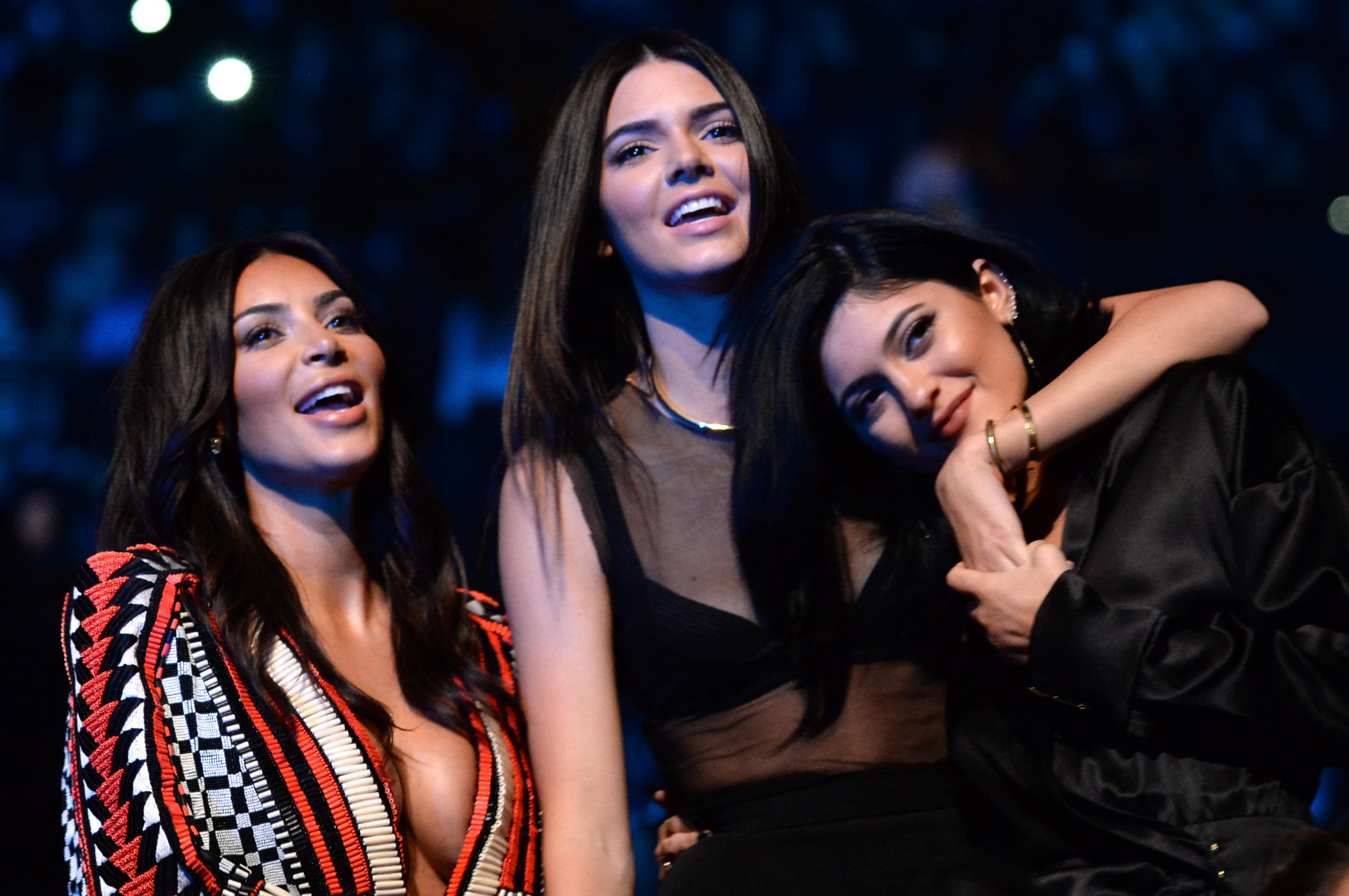 INGLEWOOD, CA - AUGUST 24:  (L-R) TV personalities Kim Kardashian, Kendall Jenner and Kylie Jenner attend the 2014 MTV Video Music Awards at The Forum on August 24, 2014 in Inglewood, California.  (Photo by Jeff Kravitz/MTV1415/FilmMagic)