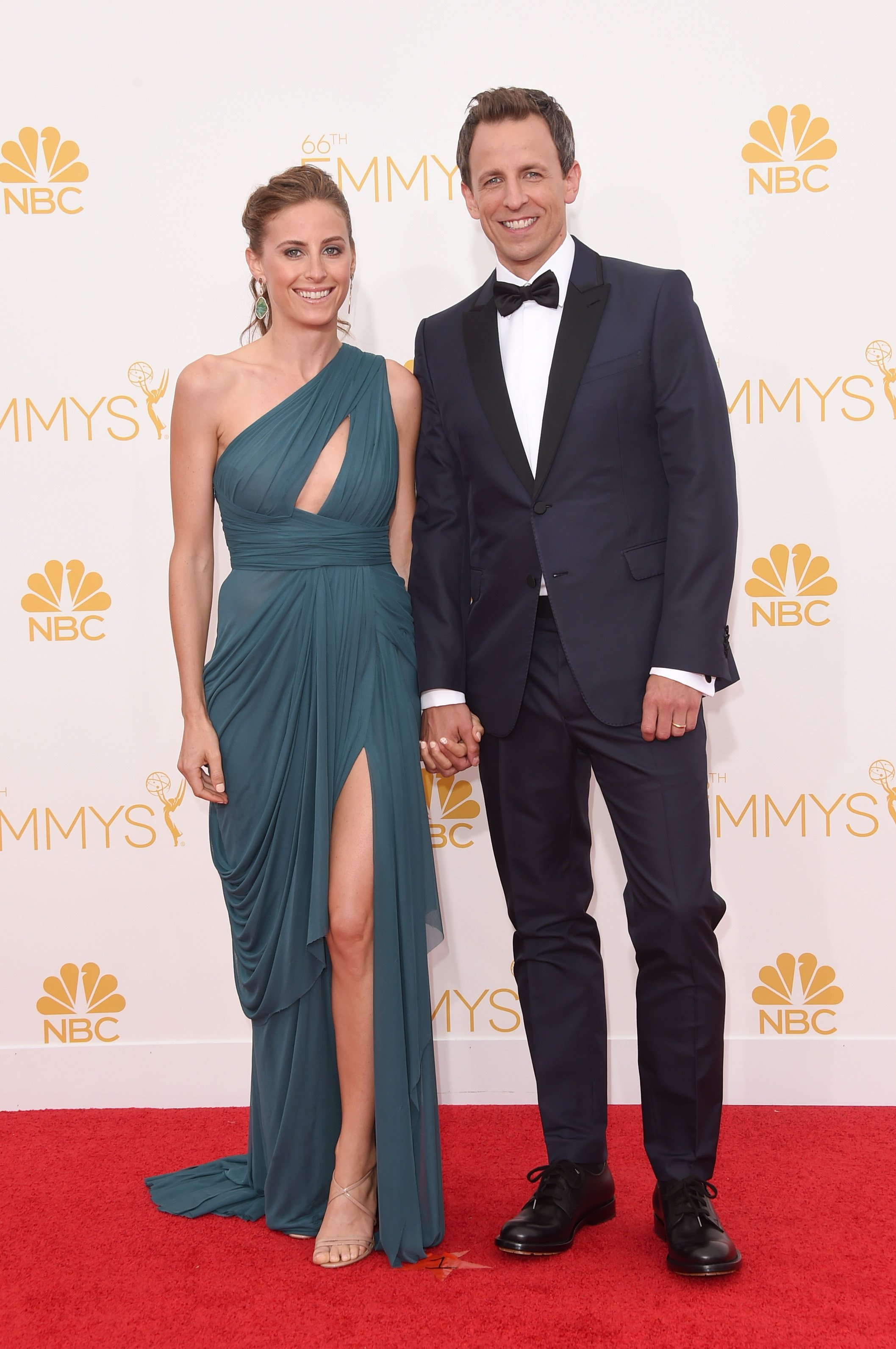 Host Seth Meyers and Alexi Ashe attend the 66th Annual Primetime Emmy Awards held at Nokia Theatre L.A. Live on August 25, 2014 in Los Angeles, California.