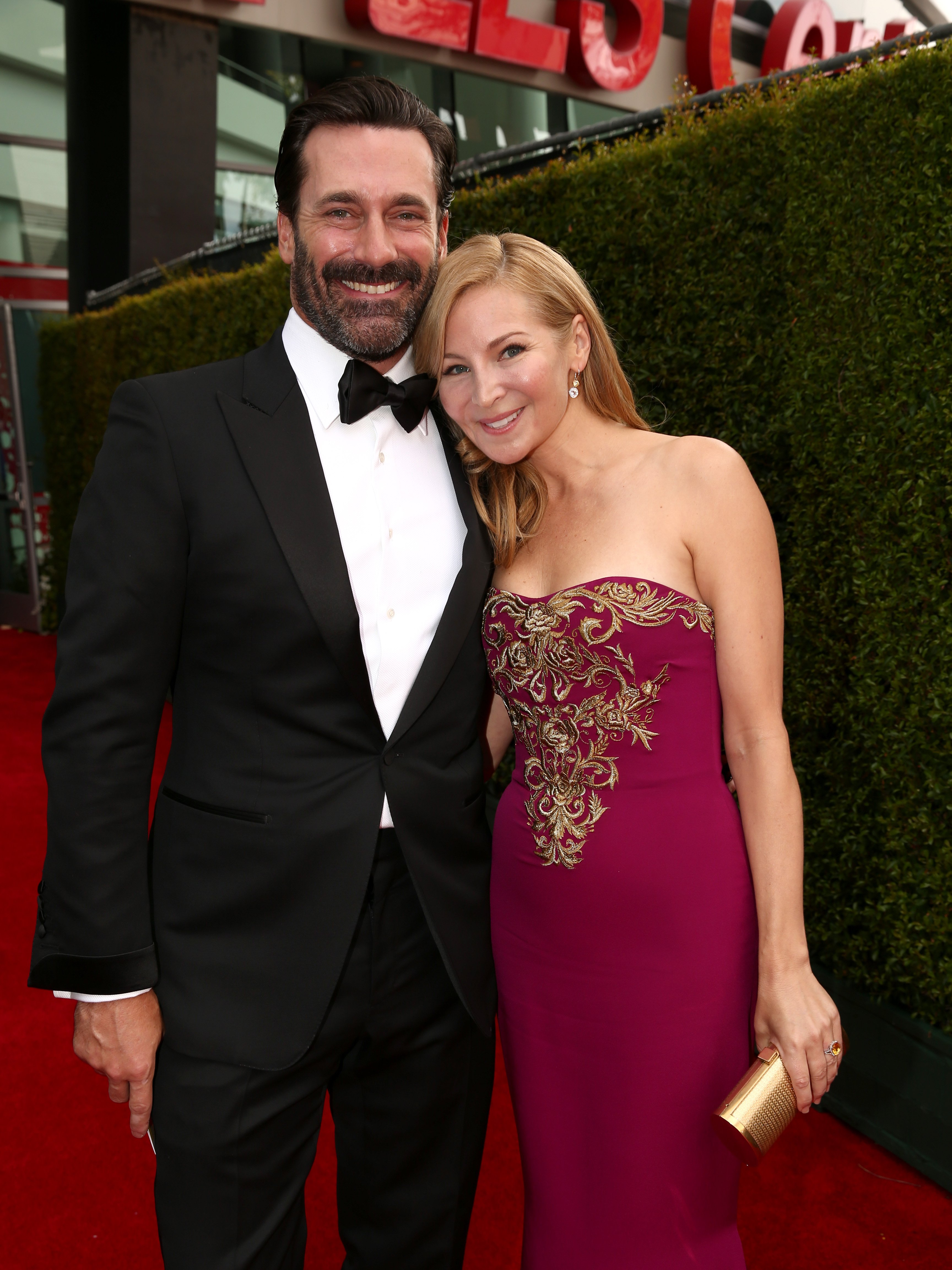 Jon Hamm and Jennifer Westfeldt arrive to the 66th Annual Primetime Emmy Awards held at the Nokia Theater on August 25, 2014.