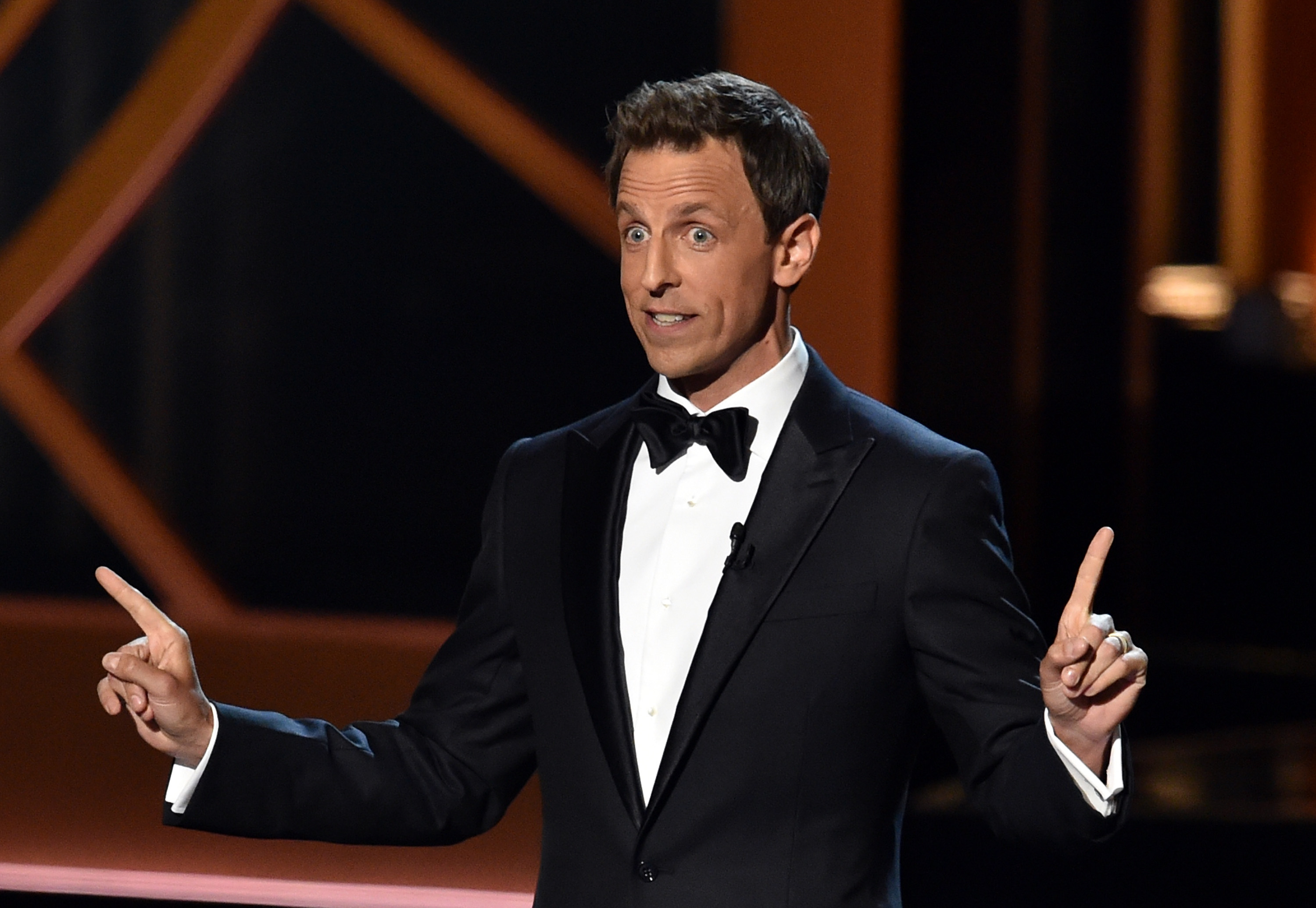 Host Seth Meyers speaks onstage at the 66th Annual Primetime Emmy Awards on August 25, 2014.