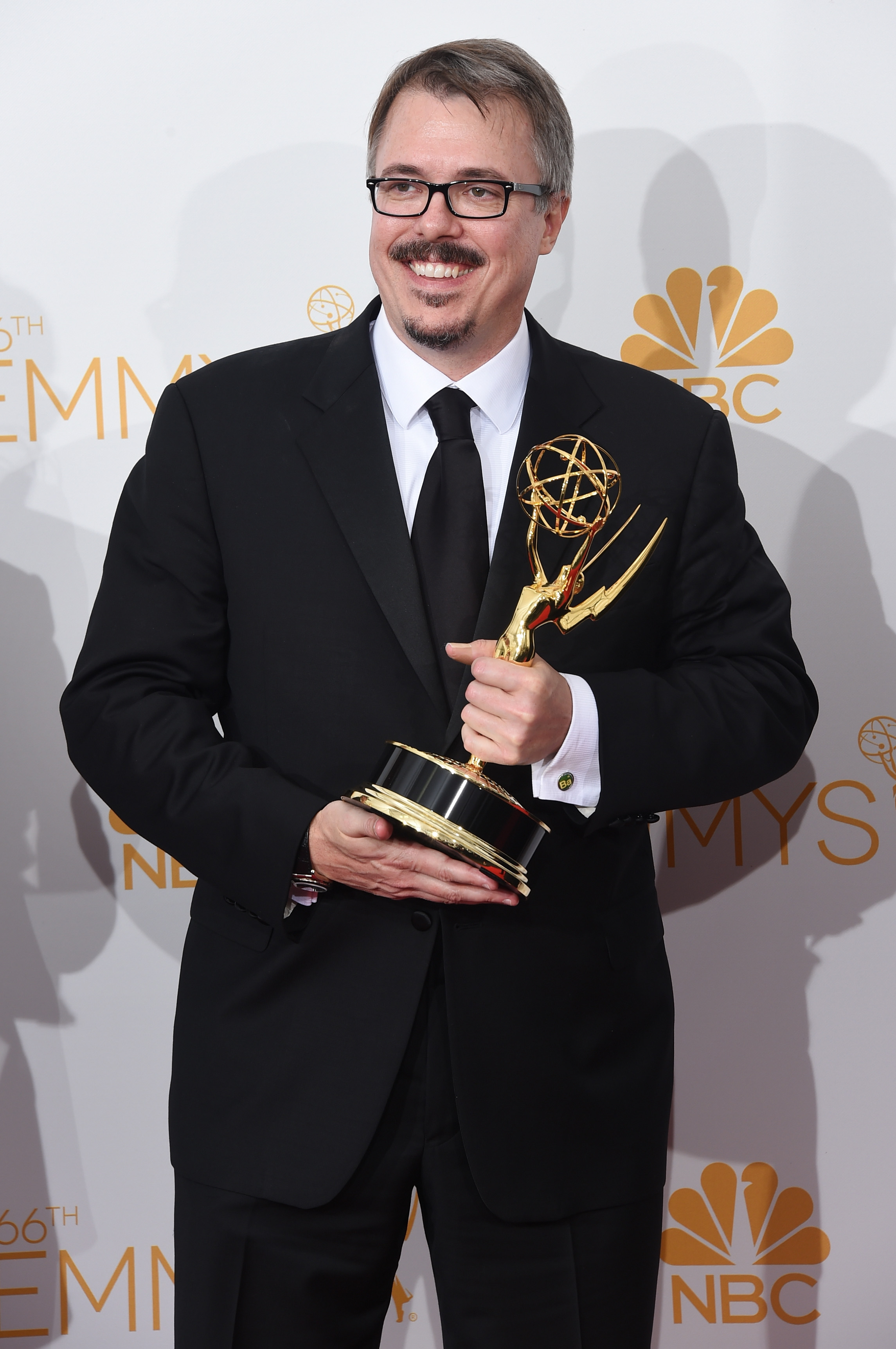 LOS ANGELES, CA - AUGUST 25:  Show Creator Vince Gilligan, winner of the Outstanding Drama Series Award for Breaking Bad poses in the press room during the 66th Annual Primetime Emmy Awards held at Nokia Theatre L.A. Live on August 25, 2014 in Los Angeles, California.