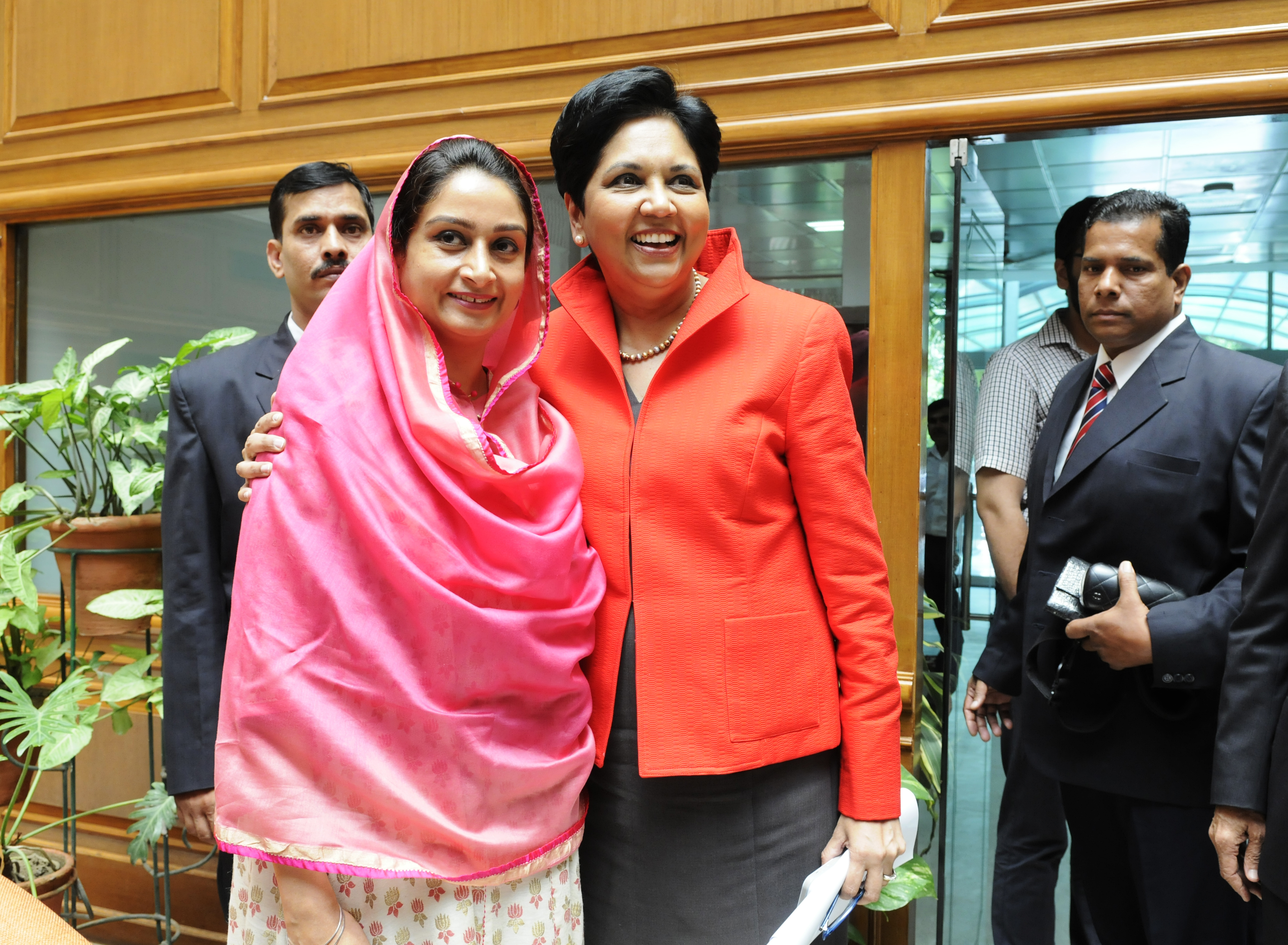 PepsiCo CEO Indra Nooyi, right, meets Food Processing Minister Harsimrat Kaur Badal in New Delhi on Aug. 26, 2014