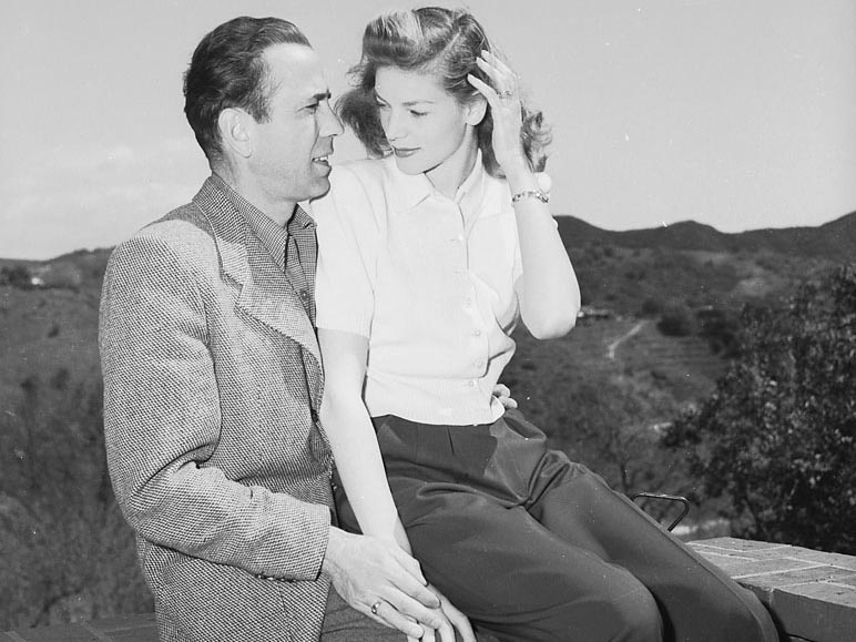 circa 1945:  American actor Humphrey Bogart (1899 - 1957) with his wife, Lauren Bacall, his co-star in 'To Have and Have Not' and 'The Big Sleep'.