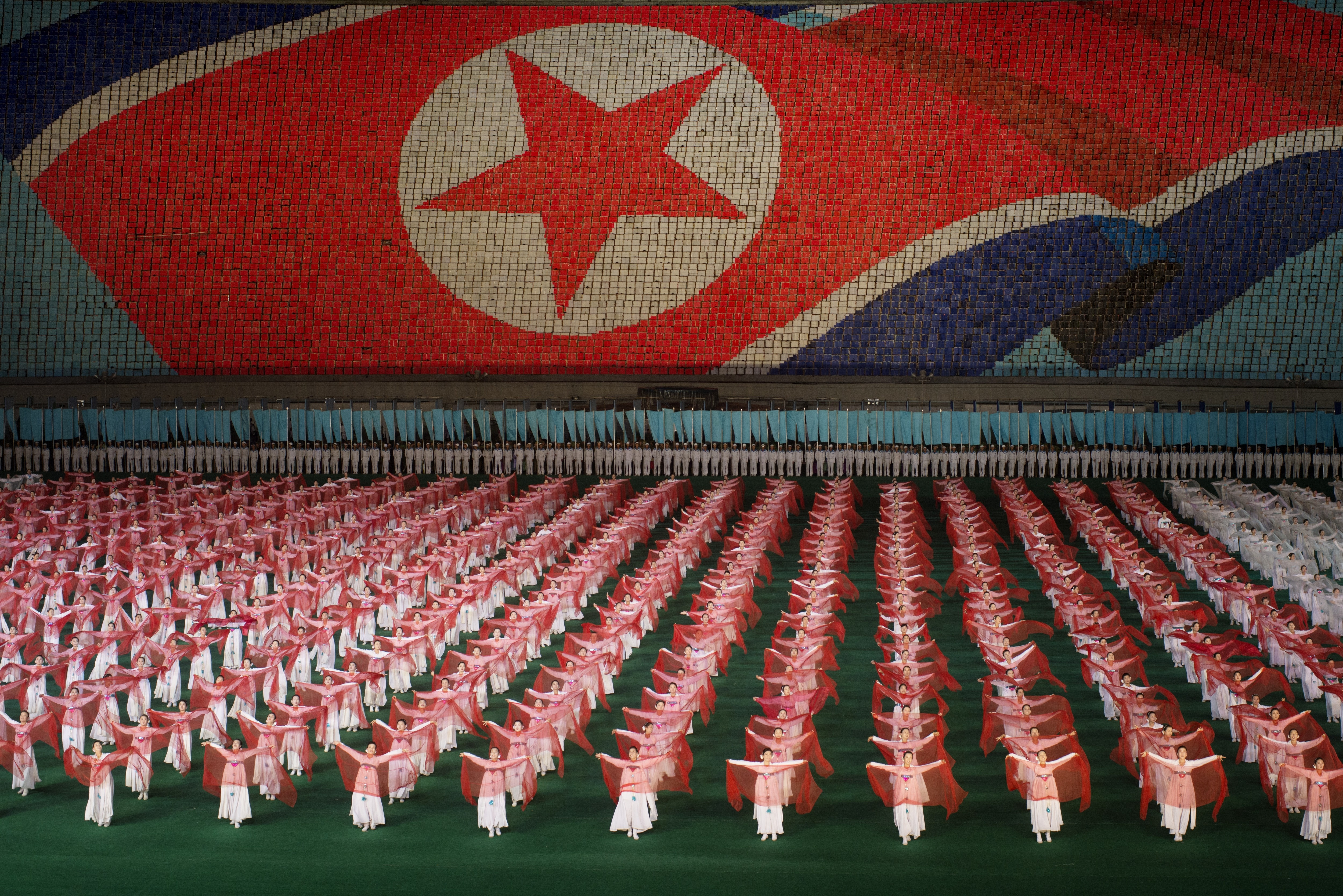 The Mass Games being performed in Pyongyang.