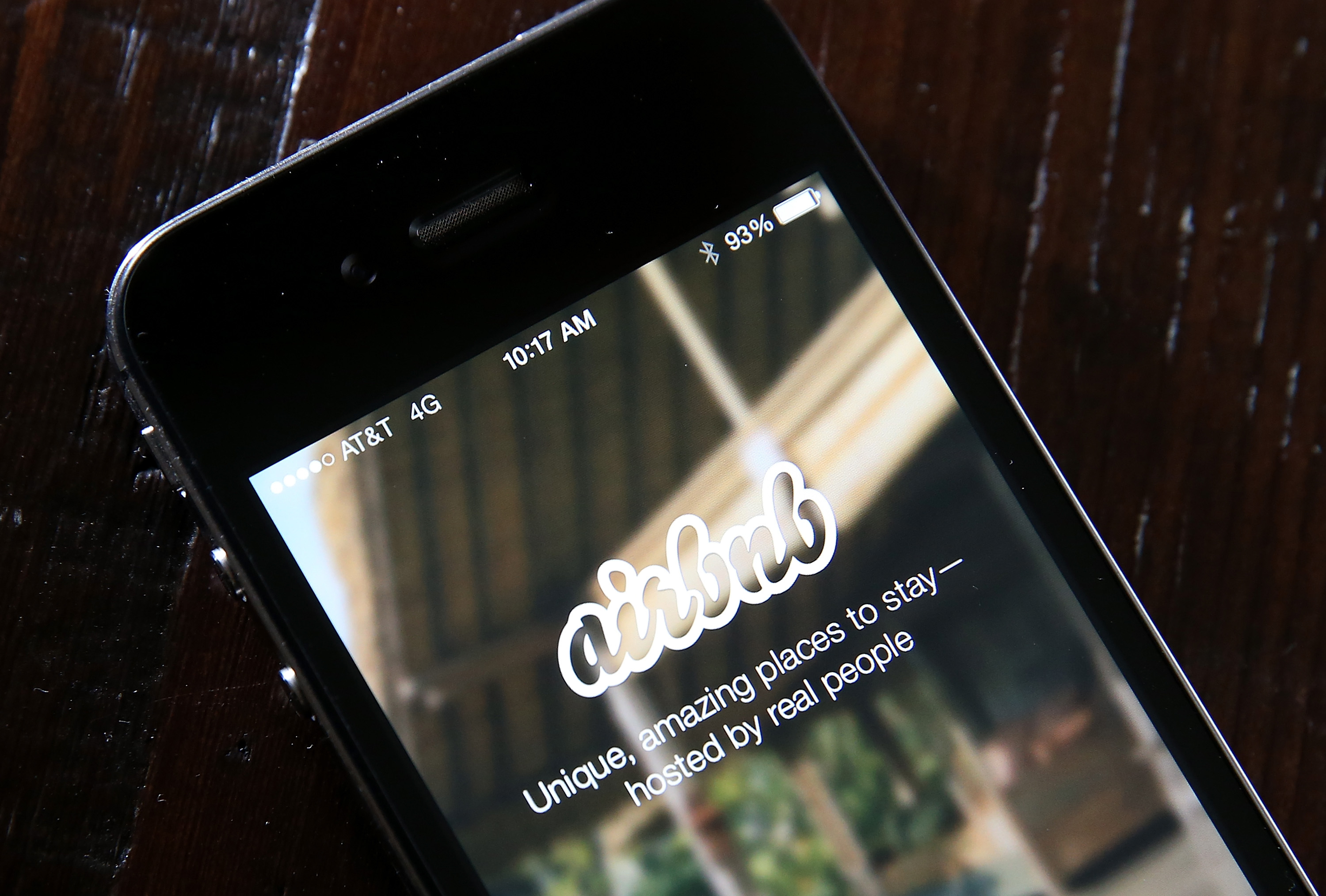The Airbnb app is displayed on a smartphone on April 21, 2014 in San Anselmo, California.