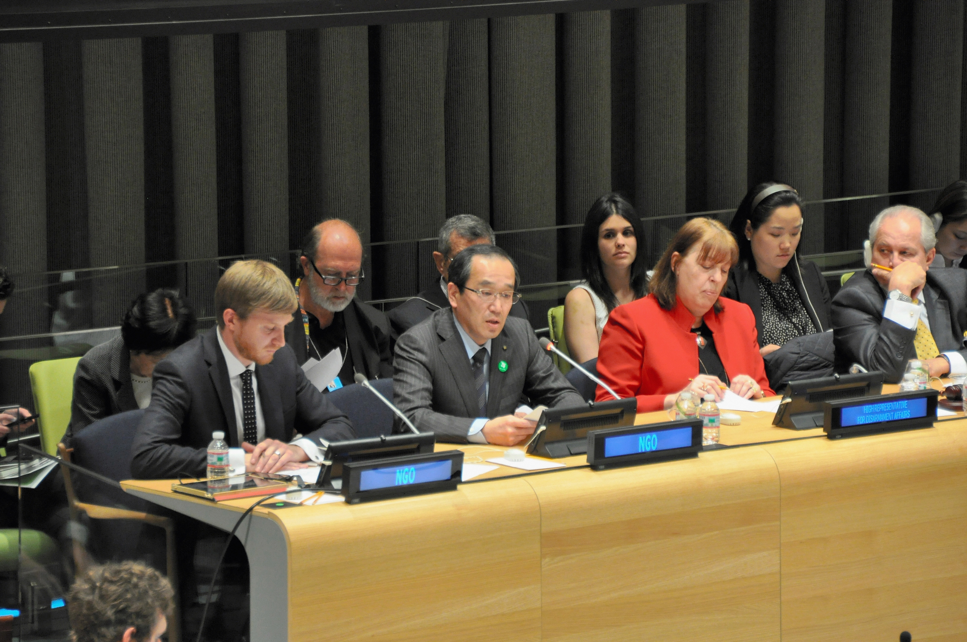 Hiroshima Mayor Kazumi Matsui (C) speaks during the third session of the Preparatory Committee for the 2015 Review Conference of the Parties to the Treaty on the Non-Proliferation of Nuclear Weapons at the U.N. headquarters on April 29, 2014 in New York City.