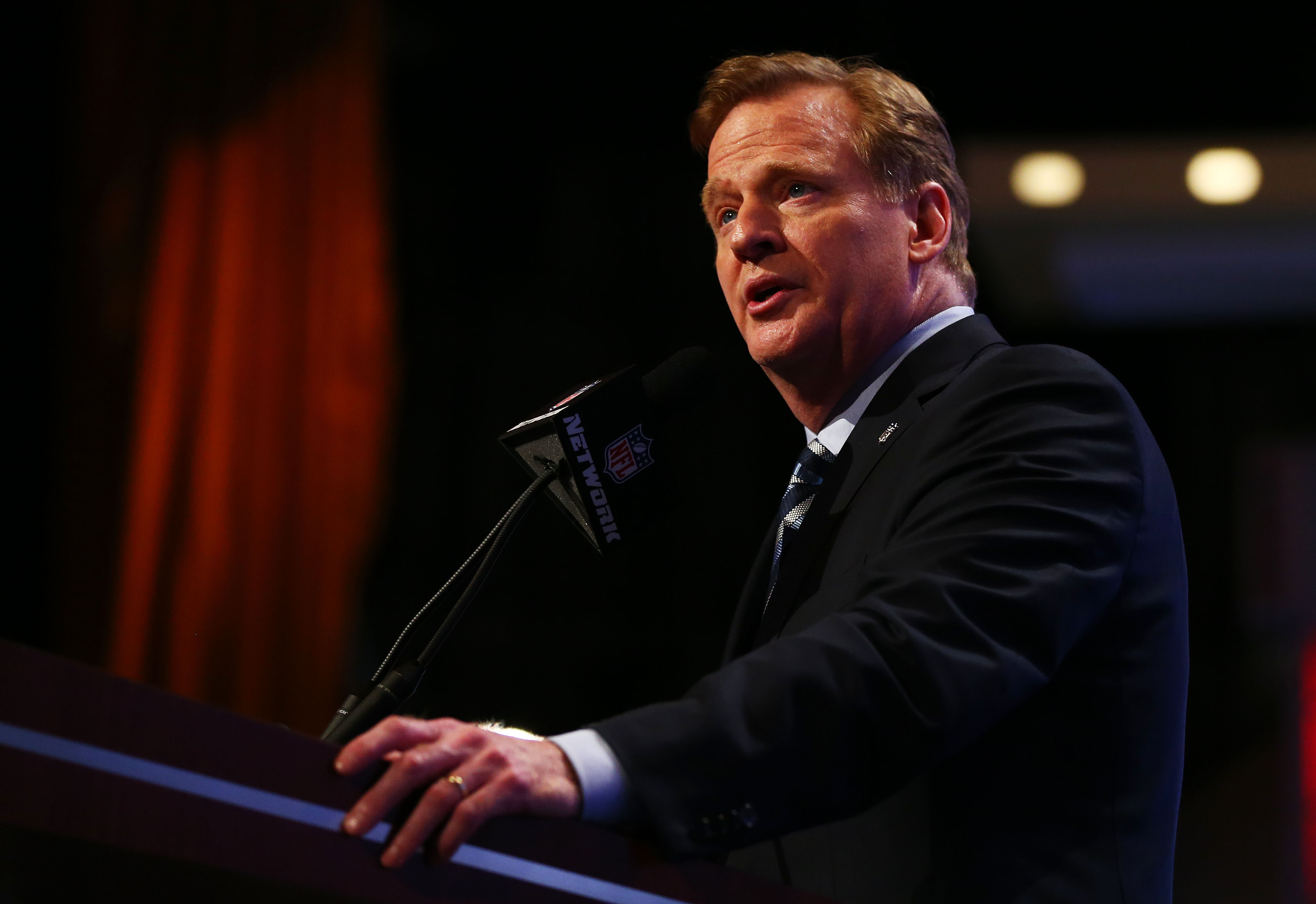NFL Commissioner Roger Goodell, who admitted on Thursday that his punishment of Ray Race for domestic violence was too lenient, at the 2014 NFL  Draft.