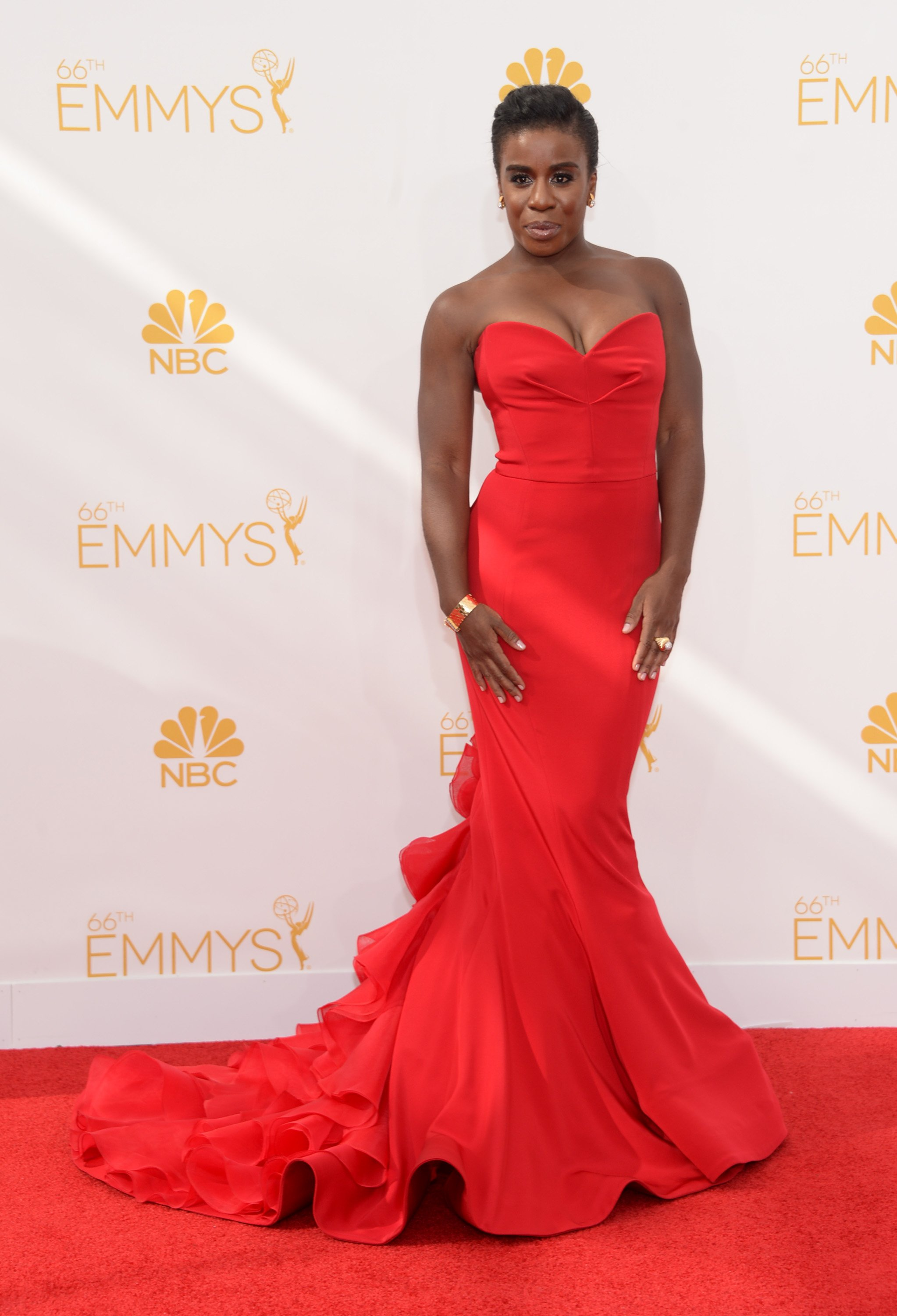 Uzo Aduba arrives at the 66th Primetime Emmy Awards at the Nokia Theatre L.A. Live on Monday, Aug. 25, 2014, in Los Angeles.