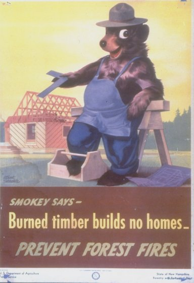 Early poster of Smokey the Bear w. capti