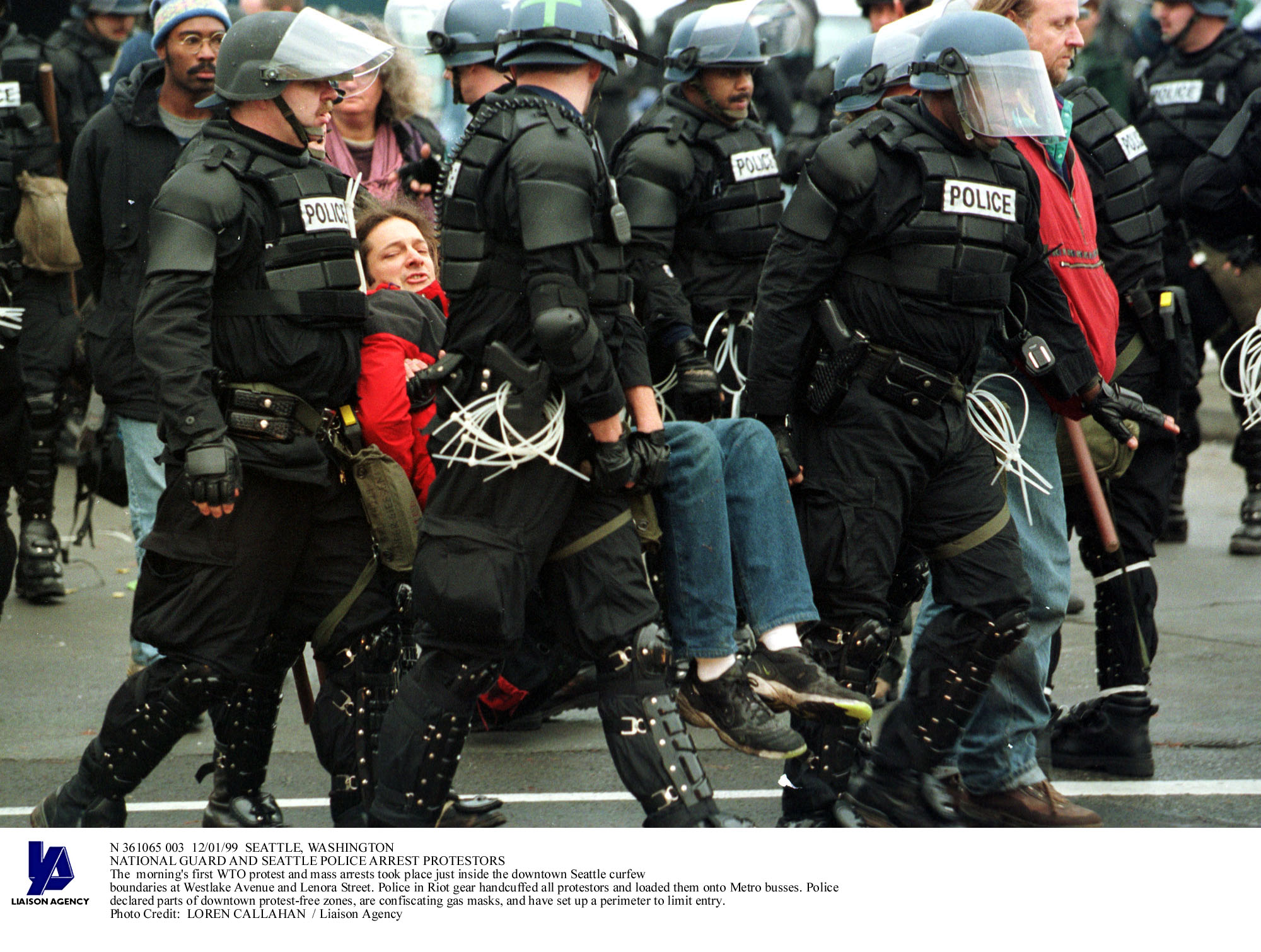 National Guard and Seattle police arrest WTO protestors , November 1999
