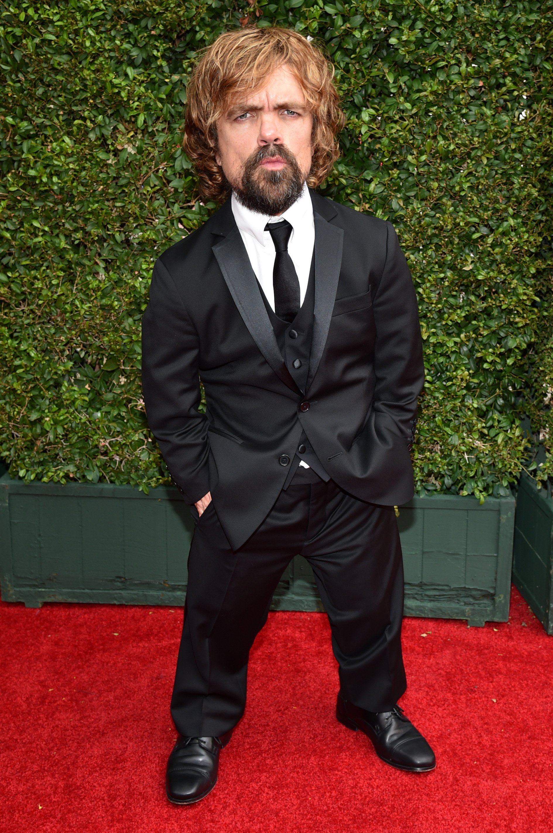 Peter Dinklage arrives at the 66th Primetime Emmy Awards at the Nokia Theatre L.A. Live on Monday, Aug. 25, 2014, in Los Angeles.