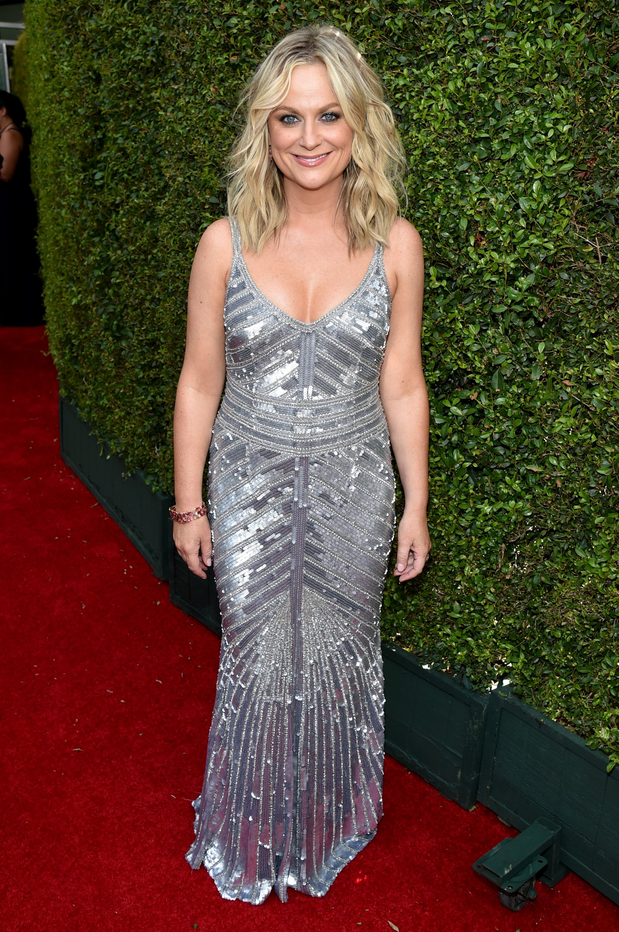 Amy Poehler arrives at the 66th Primetime Emmy Awards at the Nokia Theatre L.A. Live on Monday, Aug. 25, 2014, in Los Angeles.