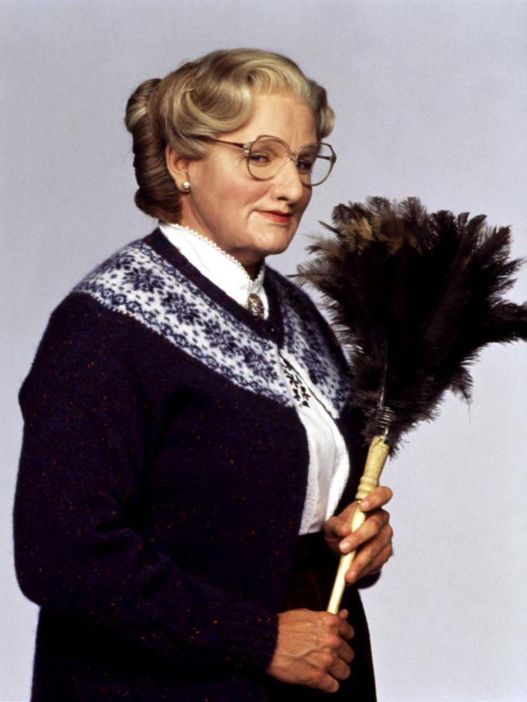 Household chores were no match for Robin Williams as he donned layers of prosthetics to play Mrs. Doubtfire in the 1993 movie of the same name.