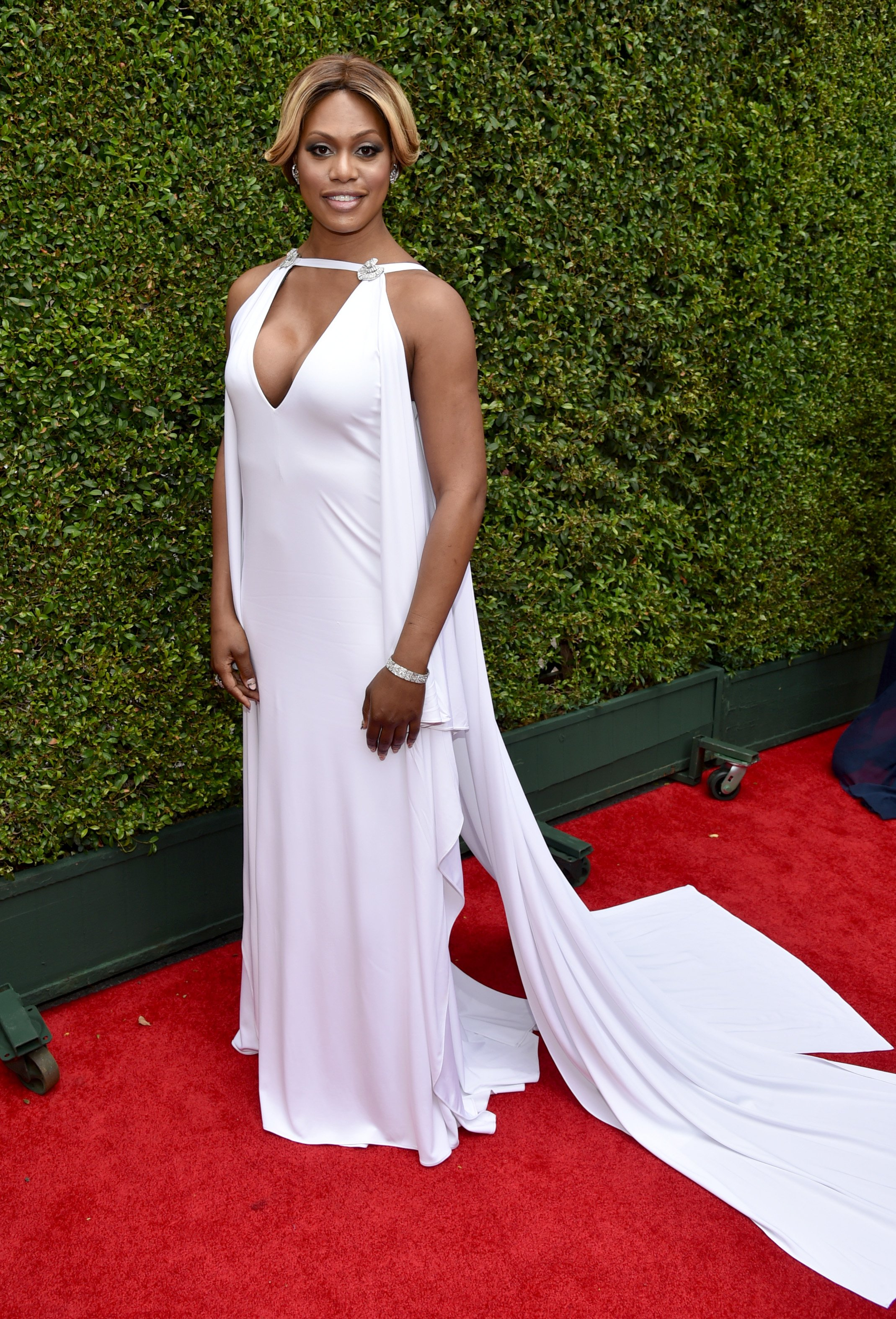 Laverne Cox arrives at the 66th Primetime Emmy Awards at the Nokia Theatre L.A. Live on Monday, Aug. 25, 2014, in Los Angeles.