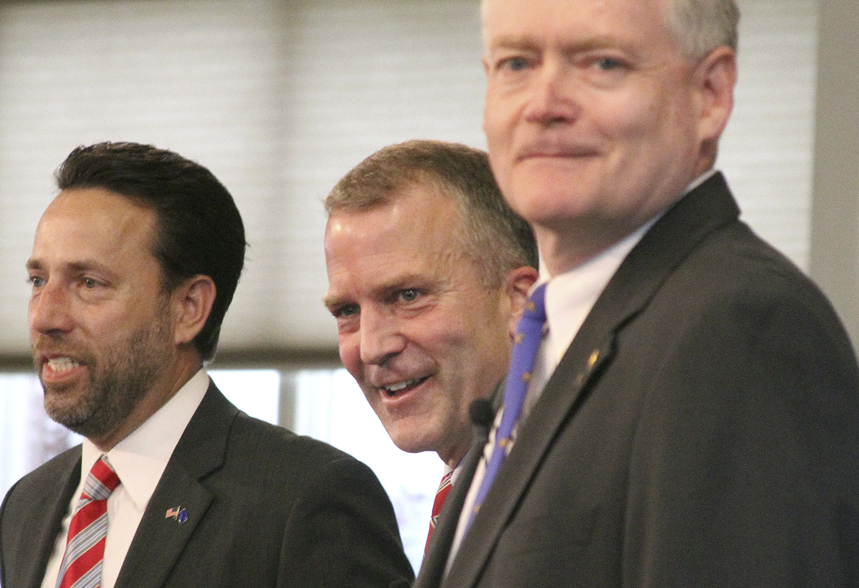 From left, U.S. Senate Republican candidates Joe Miller, Dan Sullivan and Lt. Gov. Mead Treadwell take part in a debate in Eagle River, Alaska on Aug. 4, 2014.