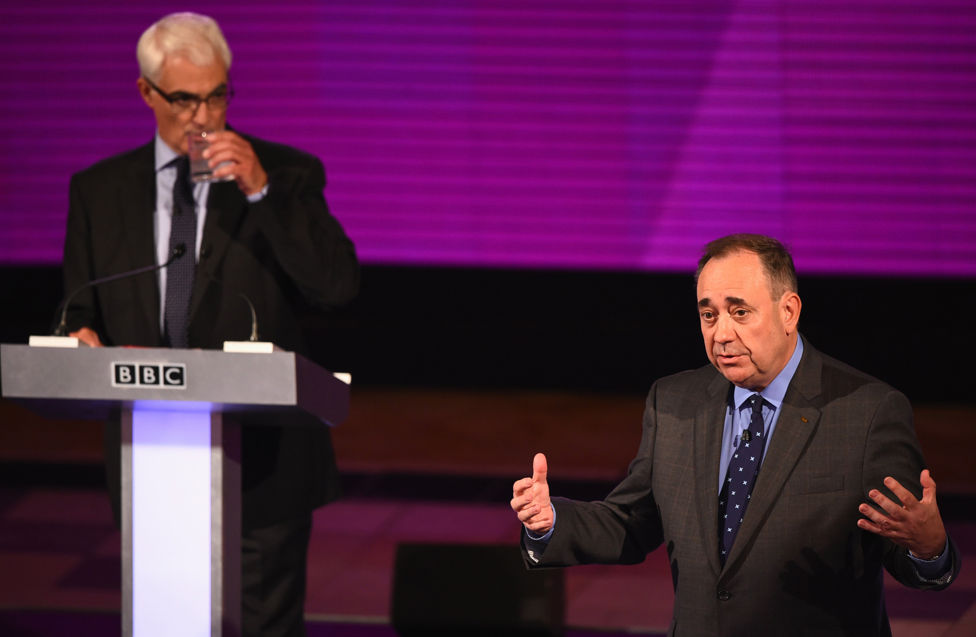 Alex Salmond, First Minister of Scotland and Alistair Darling, chairman of Better Together, take part in a live television debate by the BBC in the Kelvingrove Art Galleries on Aug. 25, 2014 in Glasgow, Scotland.