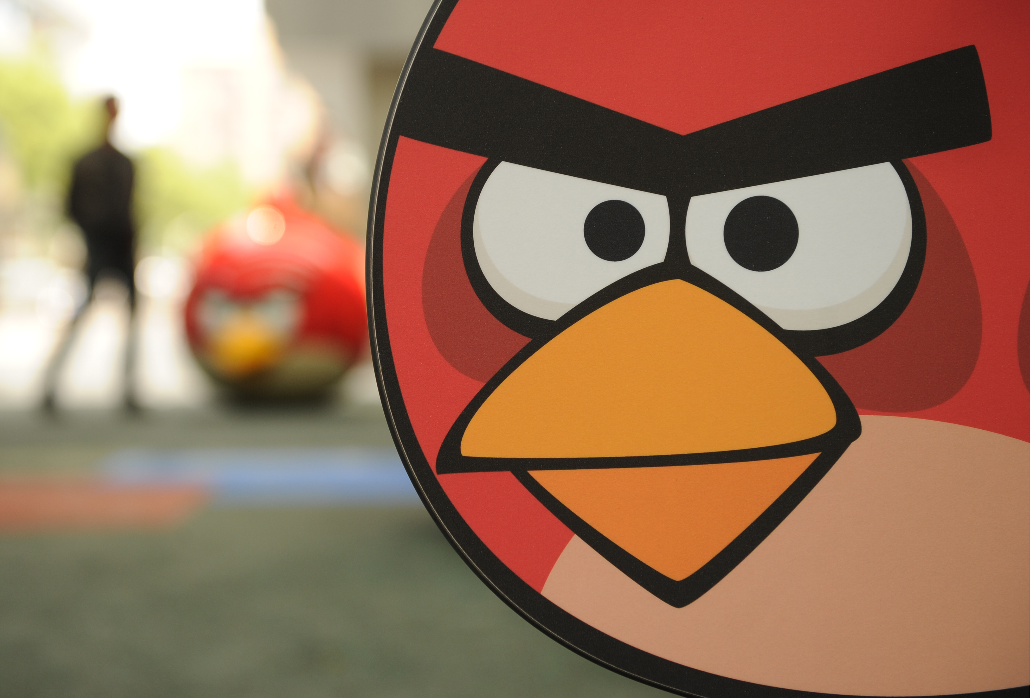 A visitor walks through Shanghai's first Angry Birds Activity Park at Tongji University in Shanghai on October 31, 2012.