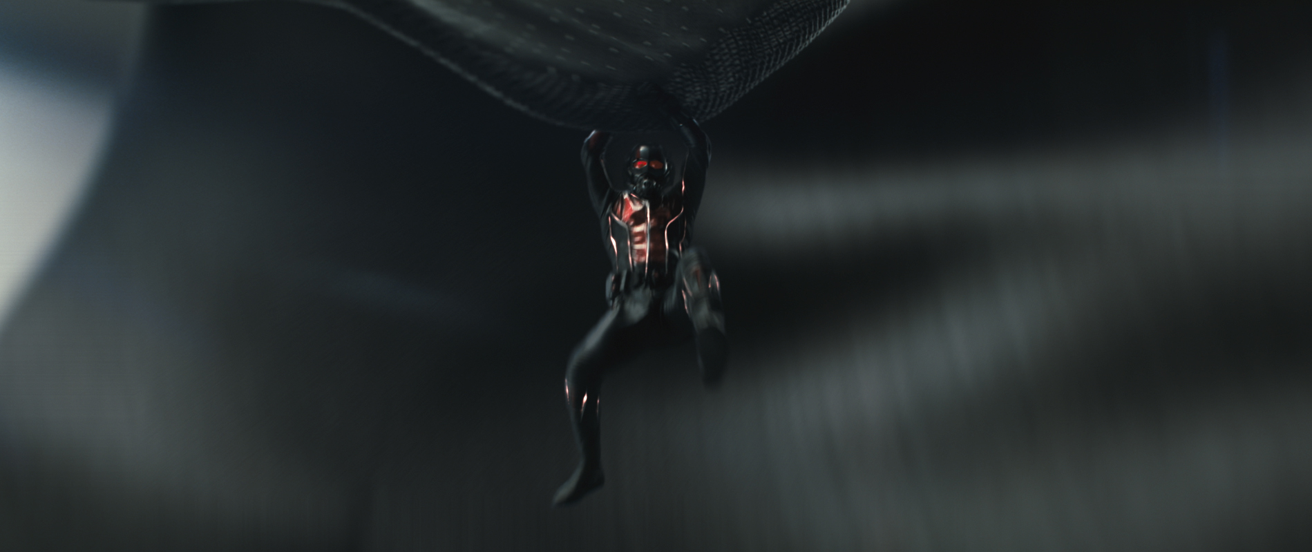 The suit is powered by Pym particles, which allows its wearer to change size at will.