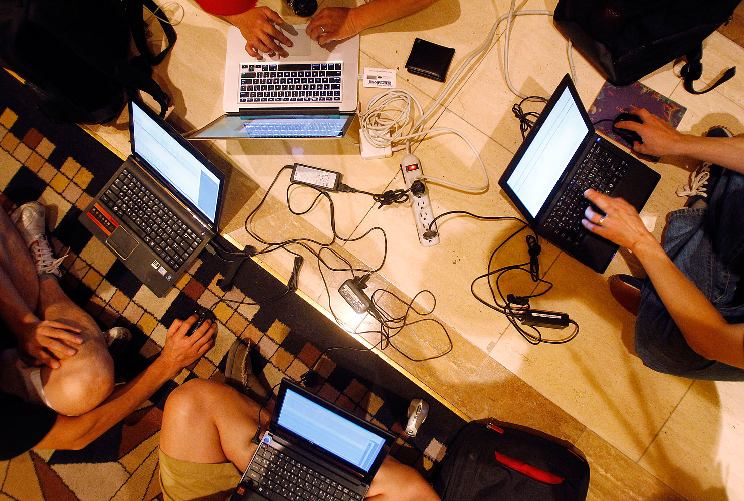 Hackers participating at the 2011 Defcon conference in Las Vegas, Aug. 5, 2011.