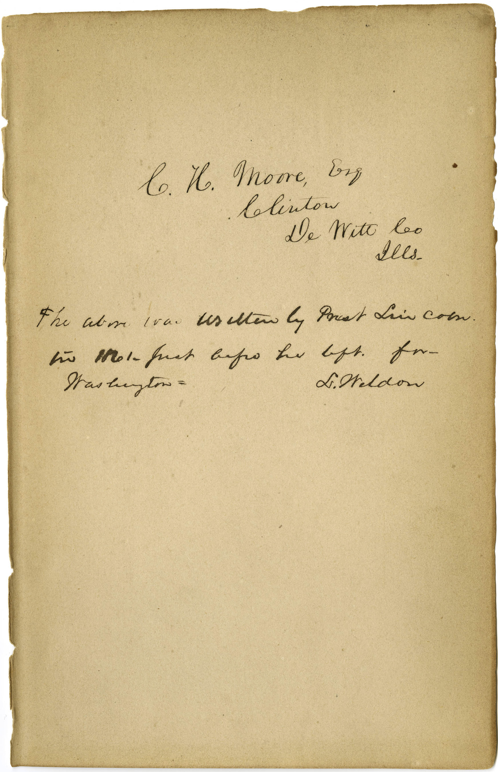 This undated photo provided by the Abraham Lincoln Presidential Library and Museum in Springfield, Ill., shows what historical experts say is Abraham Lincoln's handwriting they've found inside a tattered book justifying racism that he may have read to better understand his opponents' thinking on slavery.