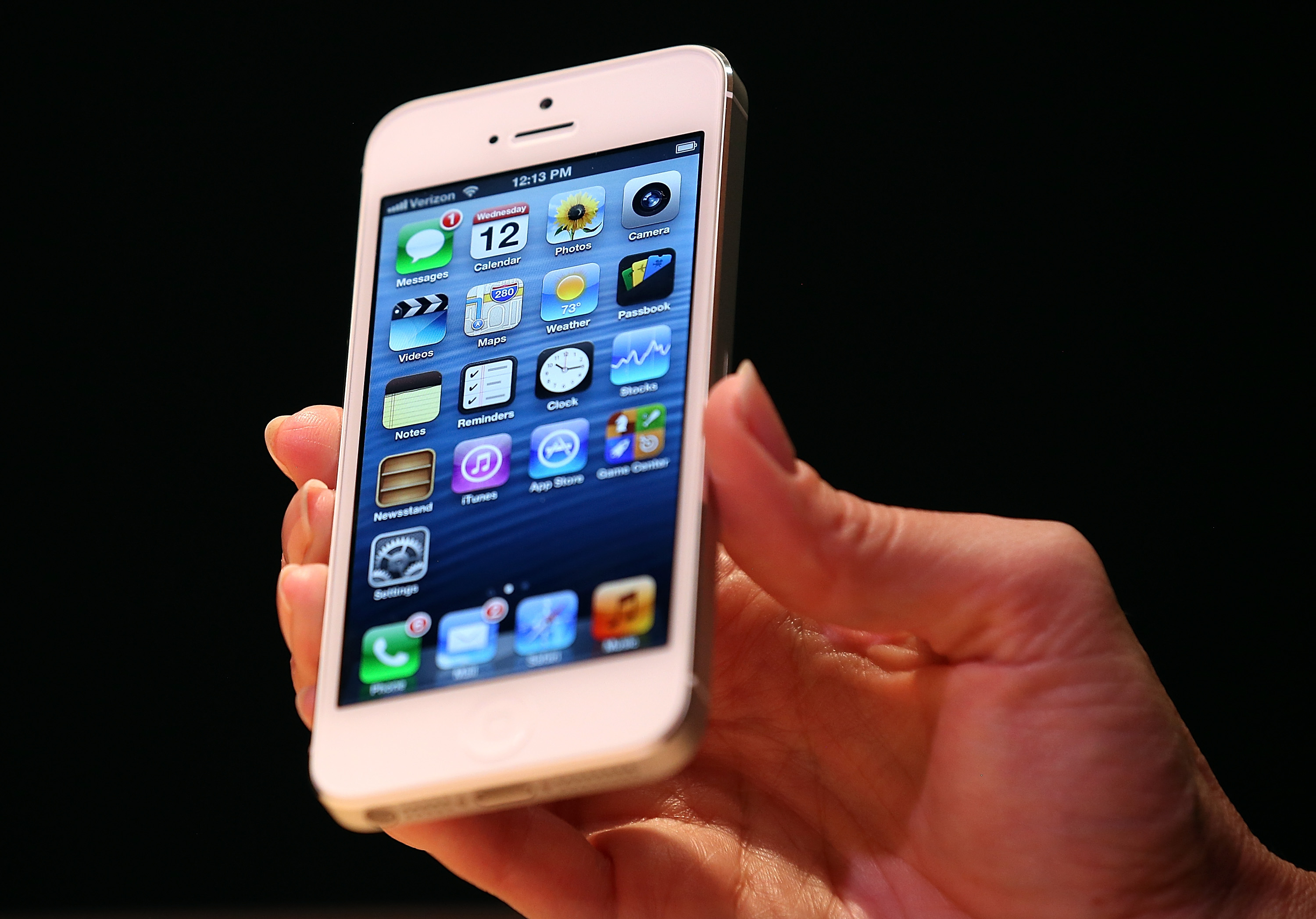 The new iPhone 5 is displayed during an Apple special event at the Yerba Buena Center for the Arts on September 12, 2012 in San Francisco, California.
