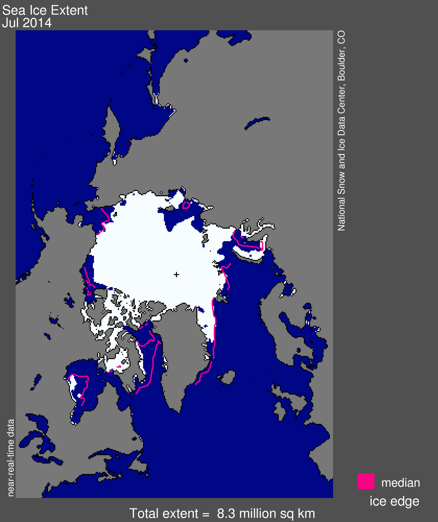 This map shows the extent of Arctic sea ice in July 2014. It was 3.19 million square miles (8.25 million square kilometers). The magenta lines show the 1981 to 2010 median extent for that month. The black cross indicates the geographic North Pole.