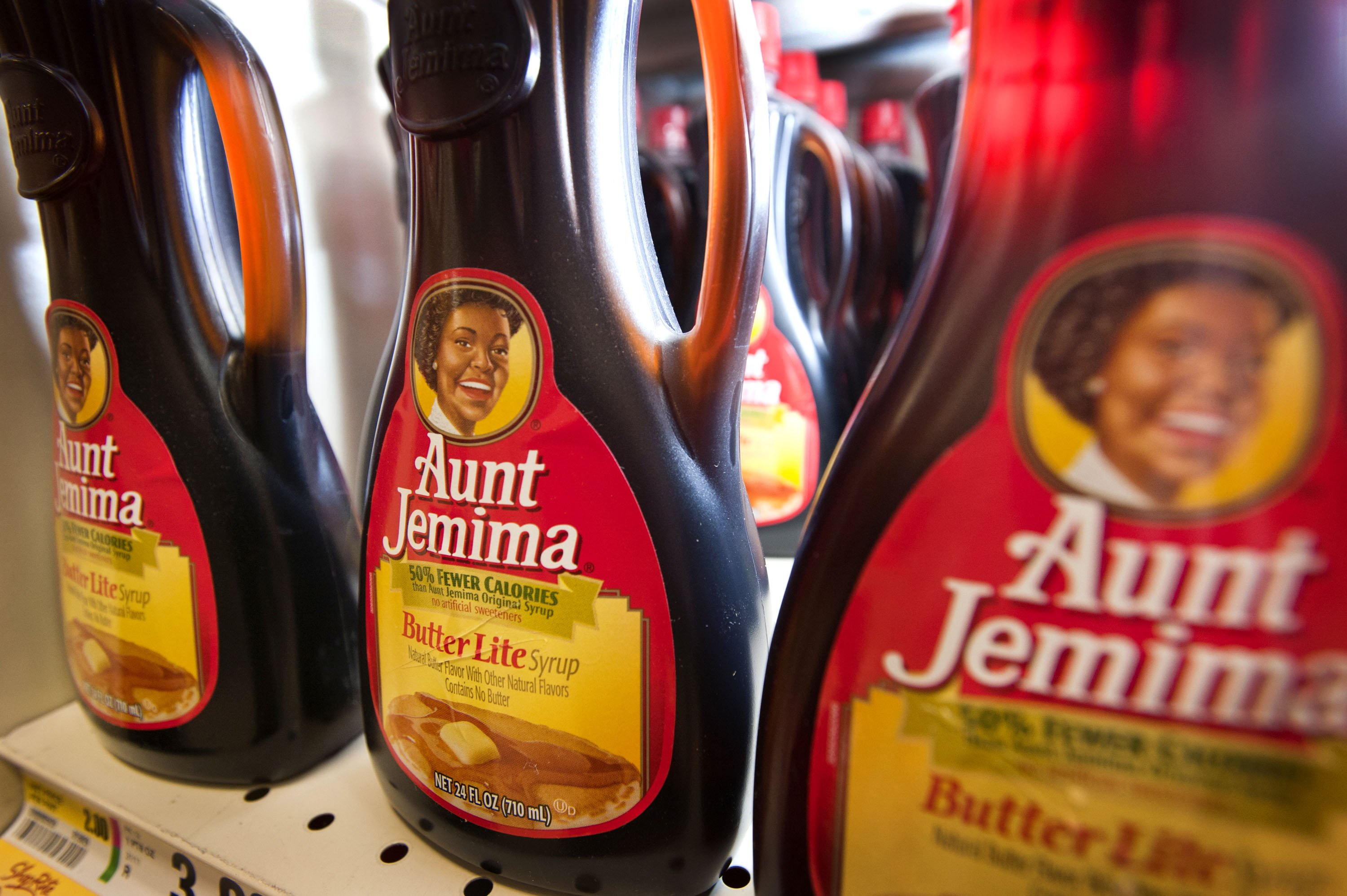 Bottles of Aunt Jemima syrup are displayed for sale at a  grocery store in Connecticut in Aug. 2011.