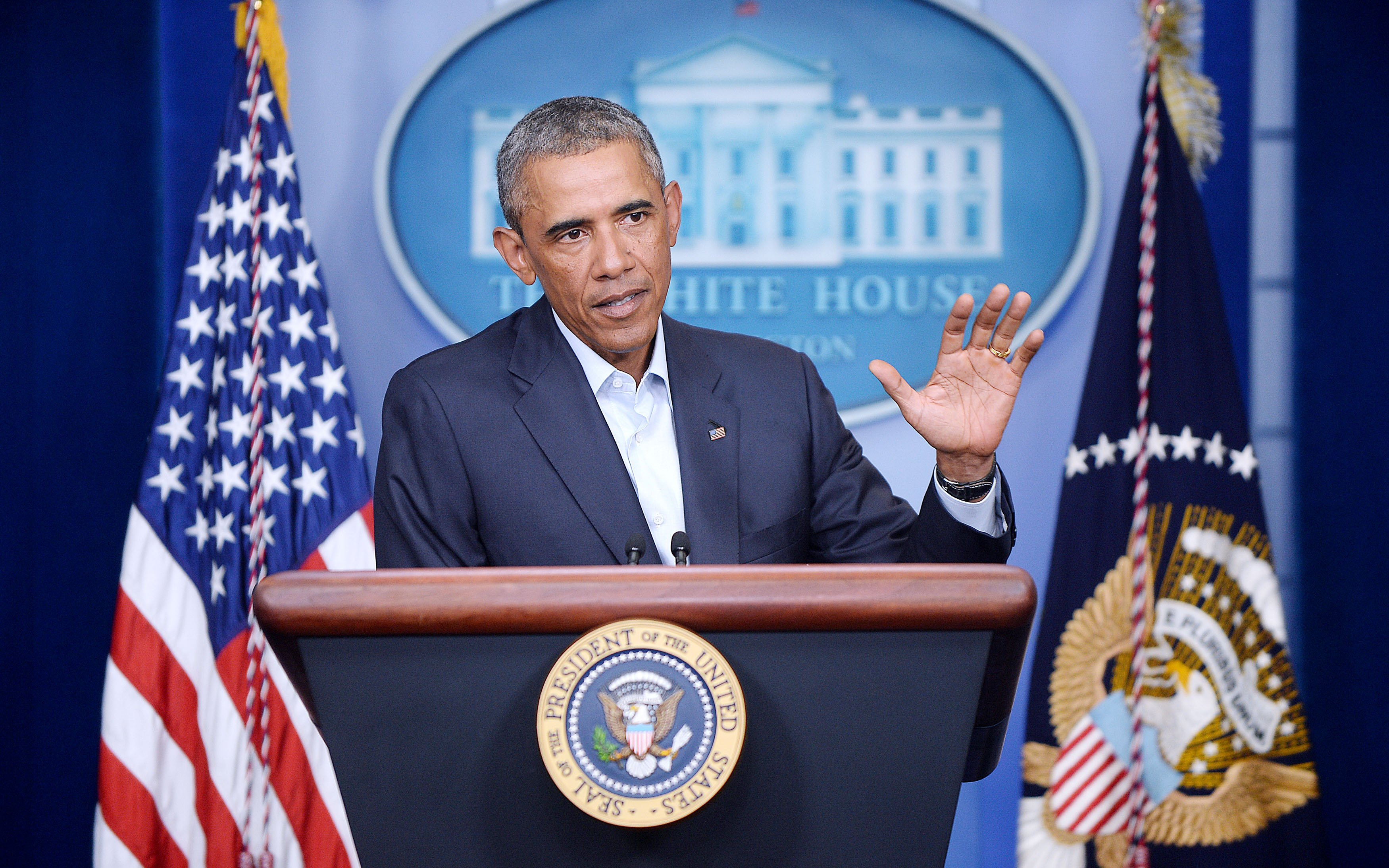 U.S. President Barack Obama delivers a statement to provide an update on Iraq and the situation in Ferguson, Missouri in the Brady Press Briefing Room of the White House August 18, 2014 in Washington, DC>