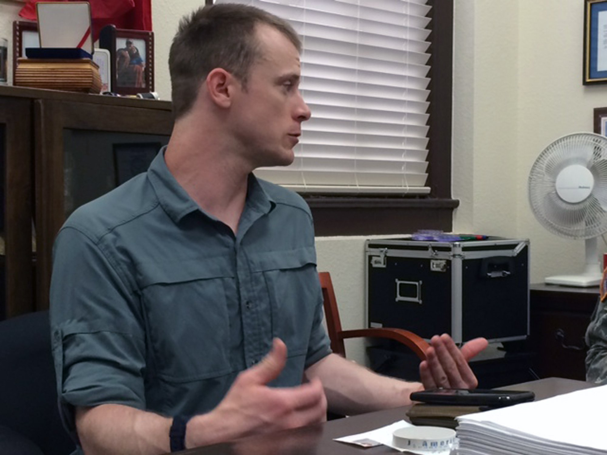 Sgt. Bowe Bergdahl preparing to be interviewed by Army investigators in Aug. 2014.