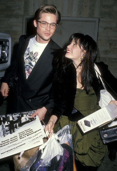 """Actor Brad Pitt and actress Jill Schoelen attend the """"Hurlyburly"""" Play Performance on January 15, 1989 at Westwood Playhouse in Westwood, California."""