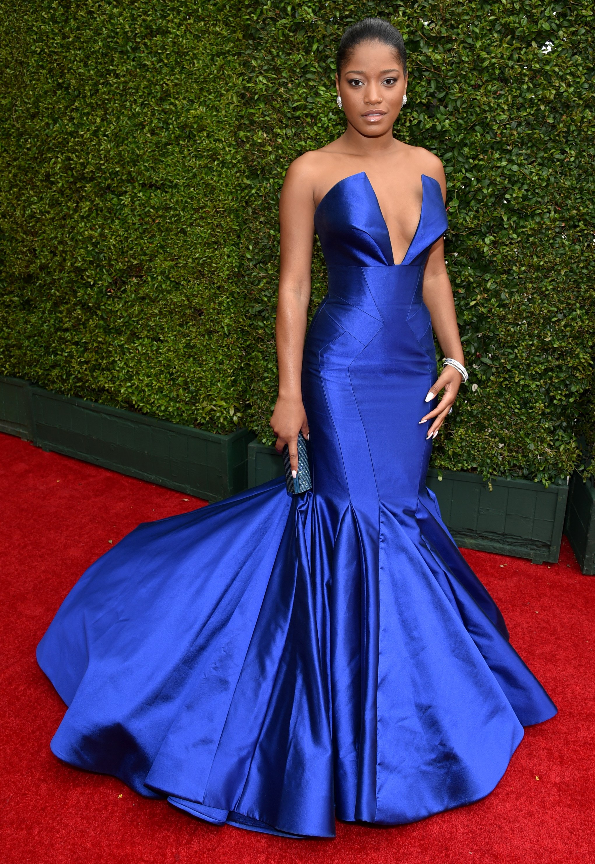 Keke Palmer arrives at the 66th Primetime Emmy Awards at the Nokia Theatre L.A. Live on Monday, Aug. 25, 2014, in Los Angeles.