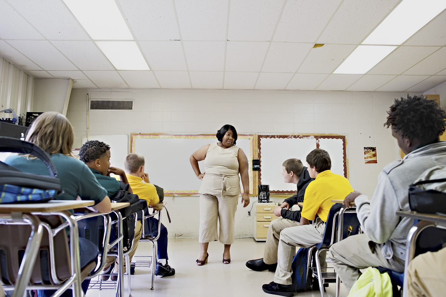 Katrina Wiley talks to a class on the first day of school at H.W. Byers High School